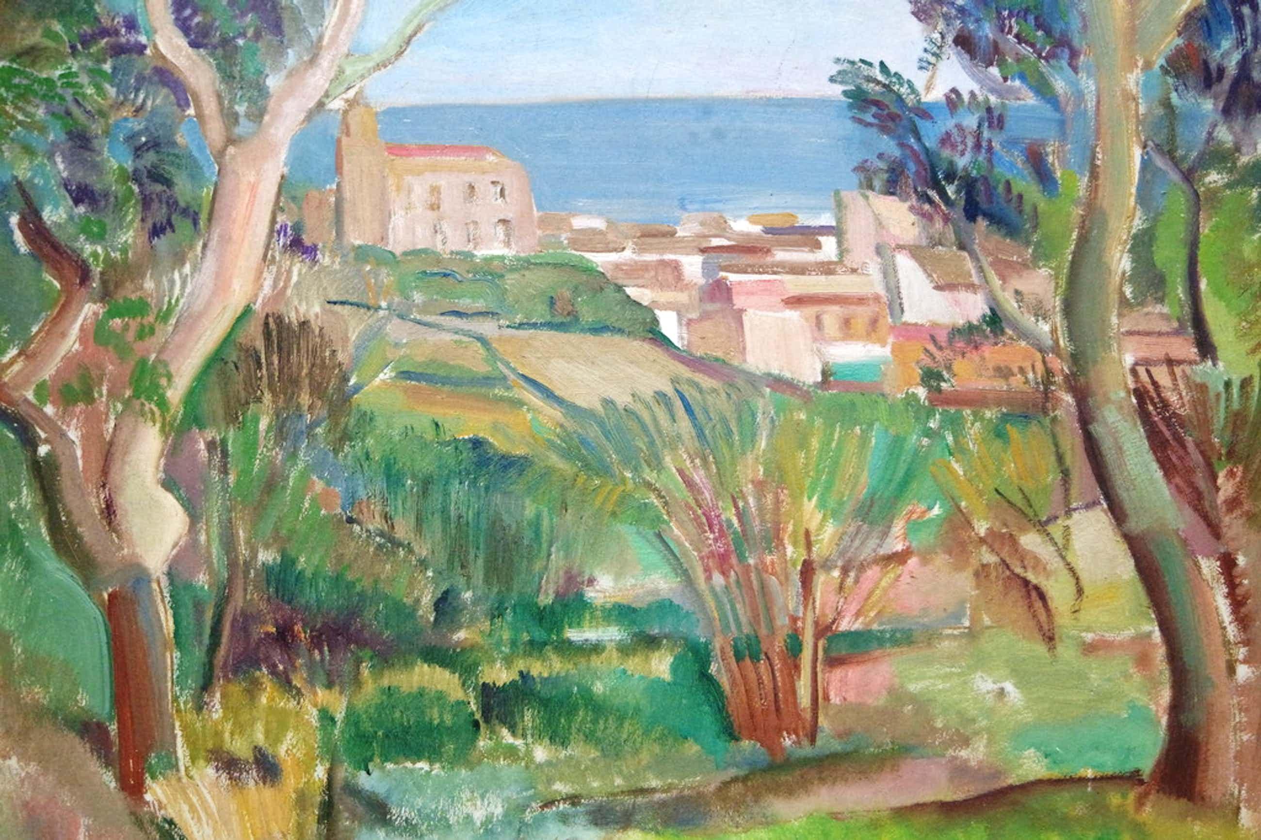 Albert van DALSUM (1889 - 1971) - olieverf op board - Italiaans dorpje aan zee kopen? Bied vanaf 80!