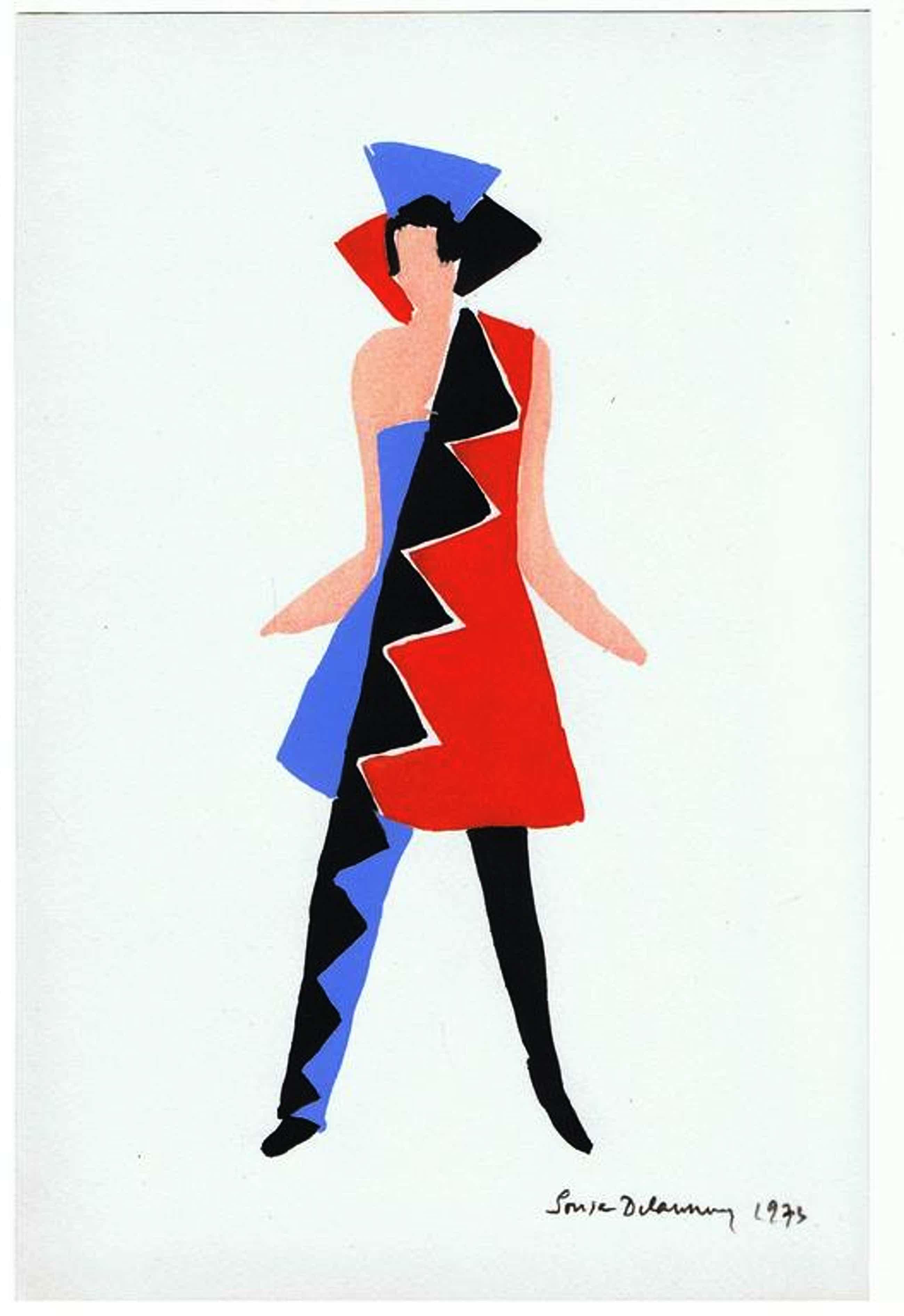 """Sonia Delaunay-""""Costume Carnaval de Rio""""-Pochoir-1969-Gesigneerd kopen? Bied vanaf 270!"""