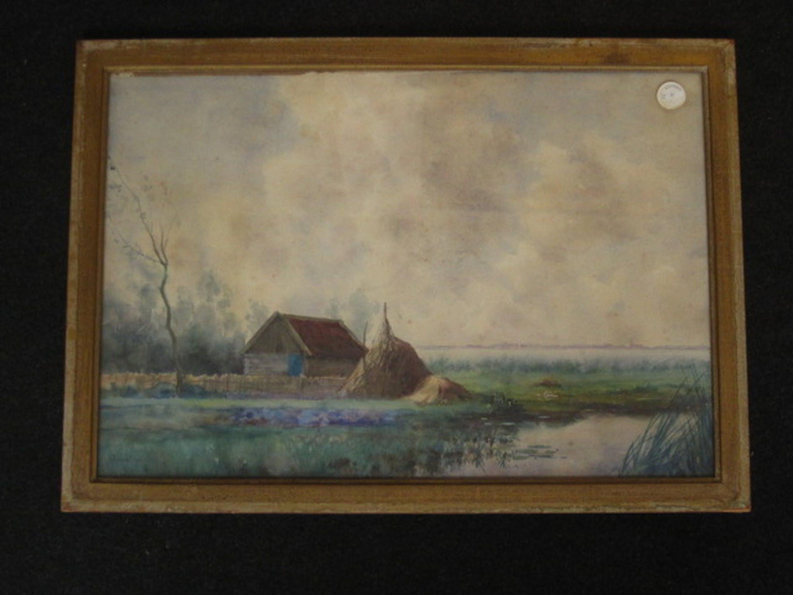 """Sfeervolle Aquarel """"Polderlandschap met stad in achtergrond"""" Jan v Rhijnnen 1859 kopen? Bied vanaf 1!"""