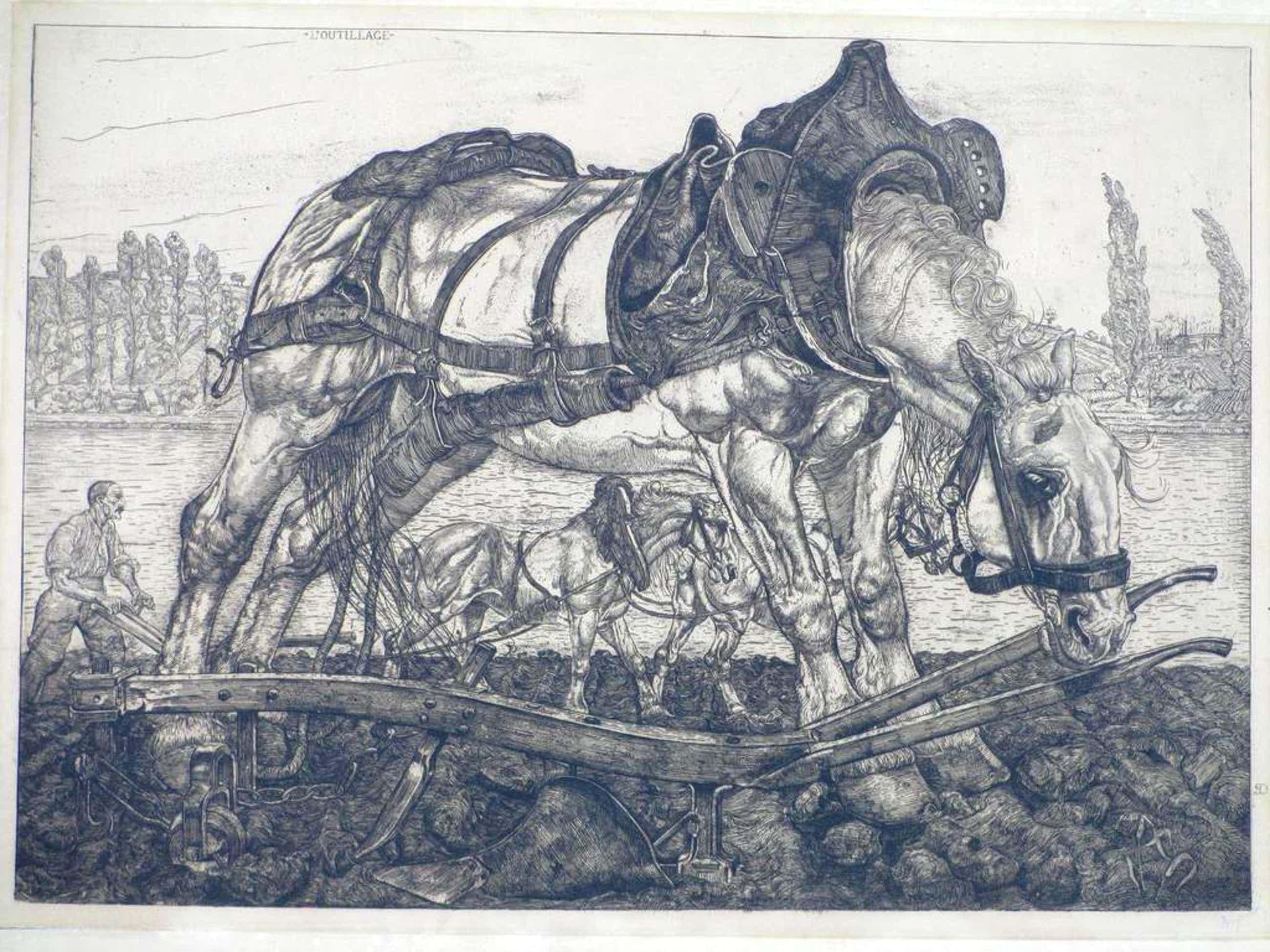 Pieter Dupont, Ploegpaard aan de oevers der Seine, Ets op koper kopen? Bied vanaf 150!