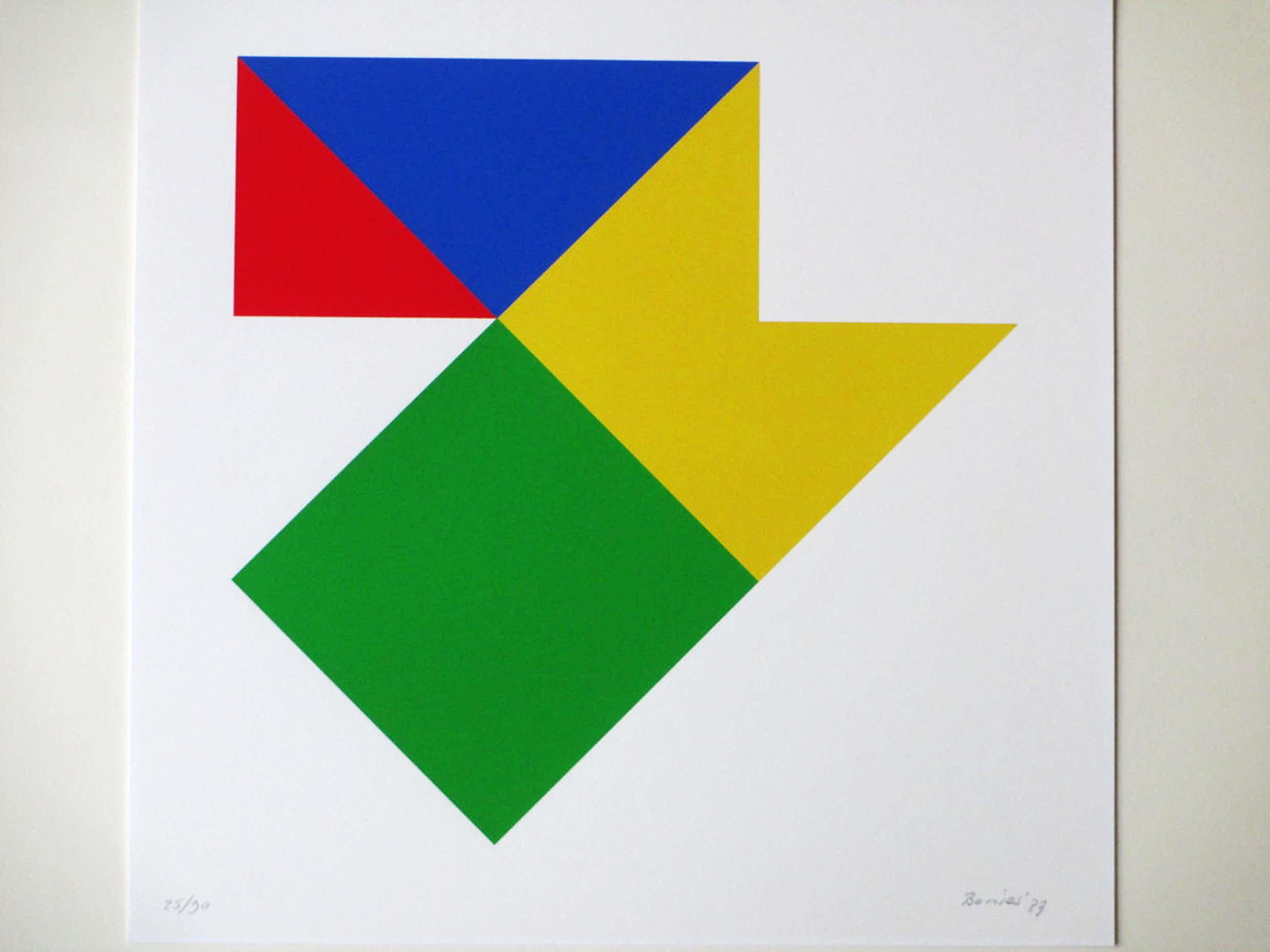 Bob Bonies, Geometrische compositie in primaire kleuren, Zeefdruk kopen? Bied vanaf 80!