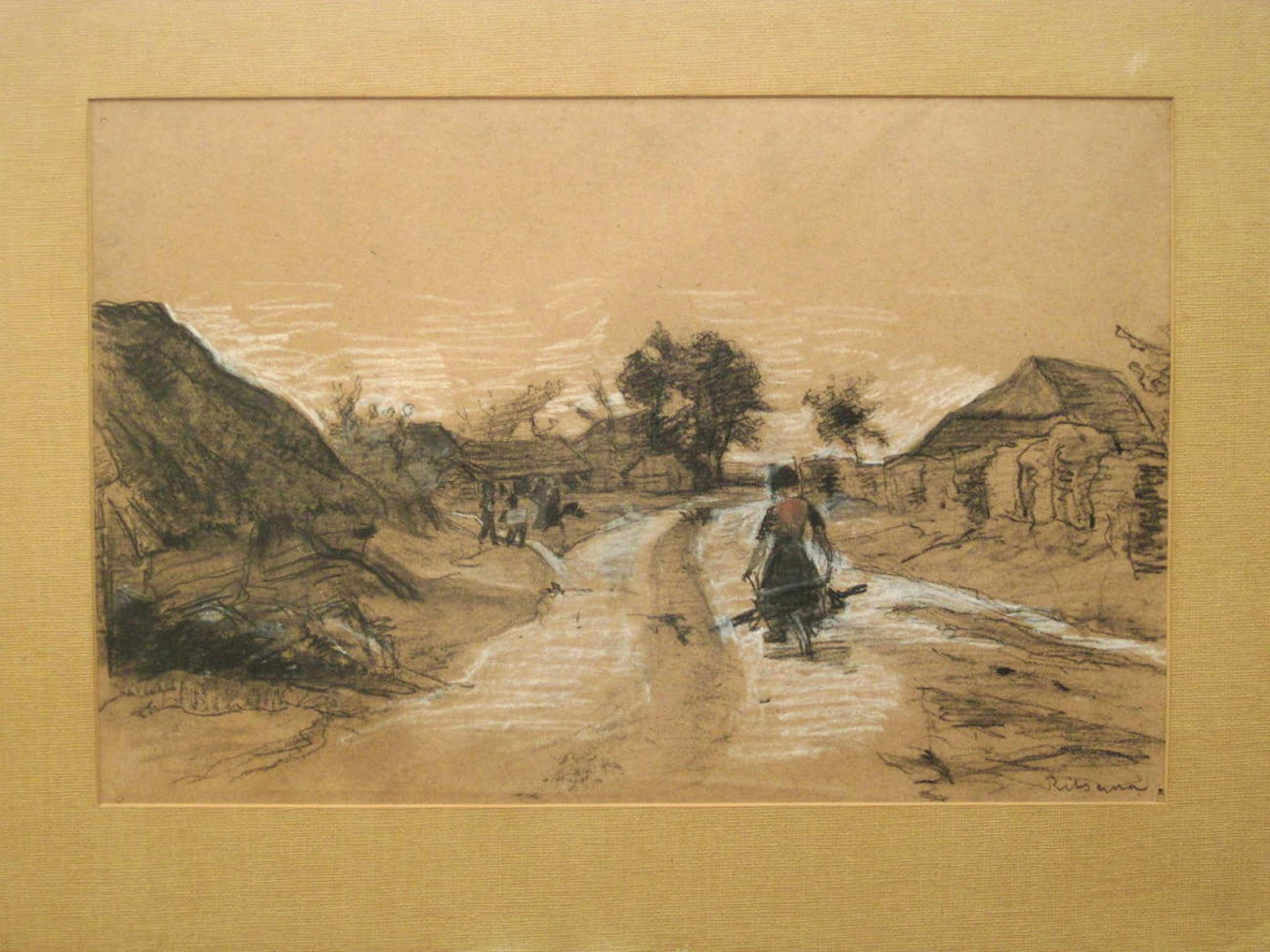 "J.C. Ritsema 1869-1943 ""boerin op landweg"" pasteltekening nav.Haagse School kopen? Bied vanaf 35!"