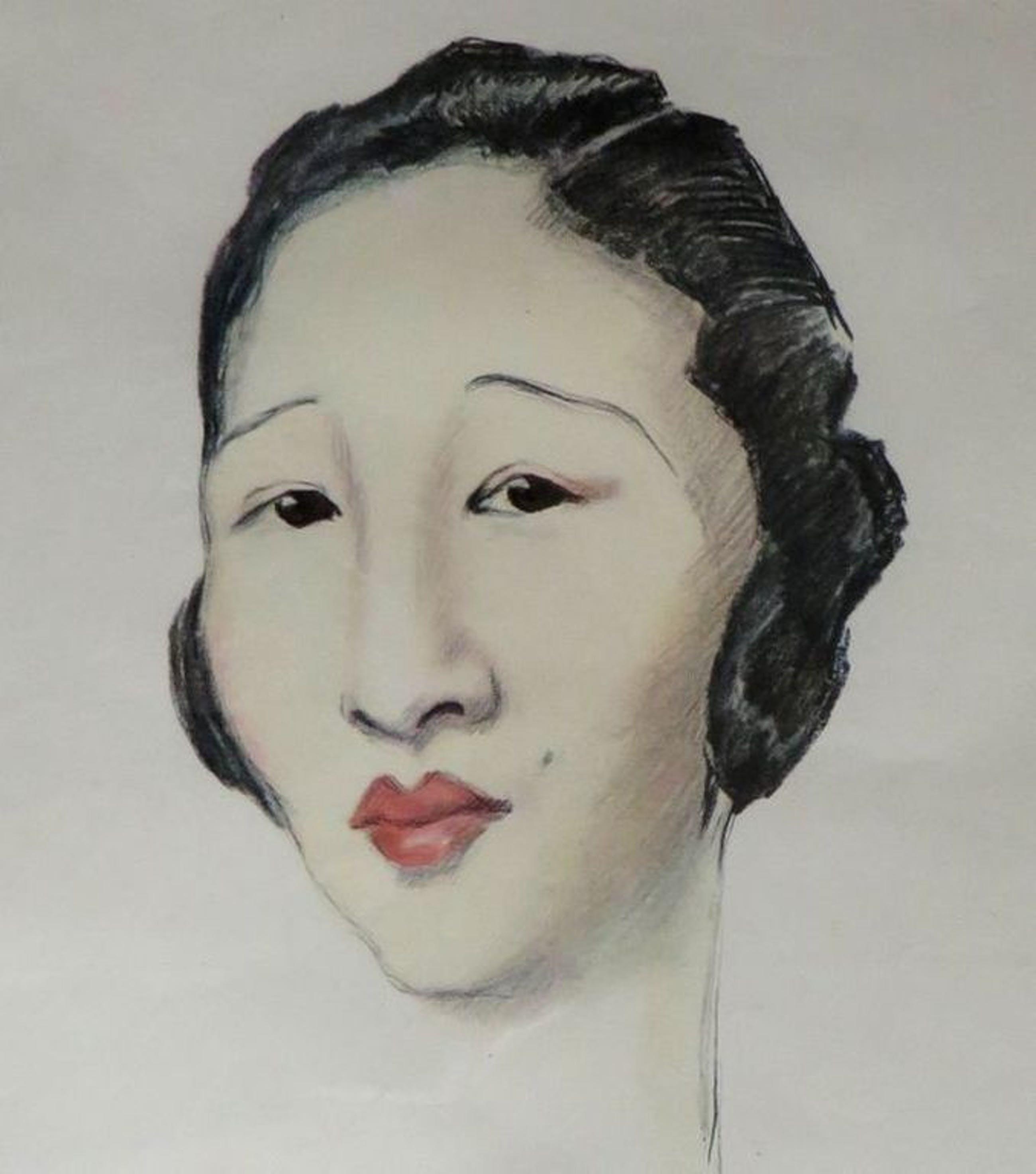Chineesche Grande dame - grafiek naar aquarel Olive SNELL (1888-1962)- ingelijst kopen? Bied vanaf 1!