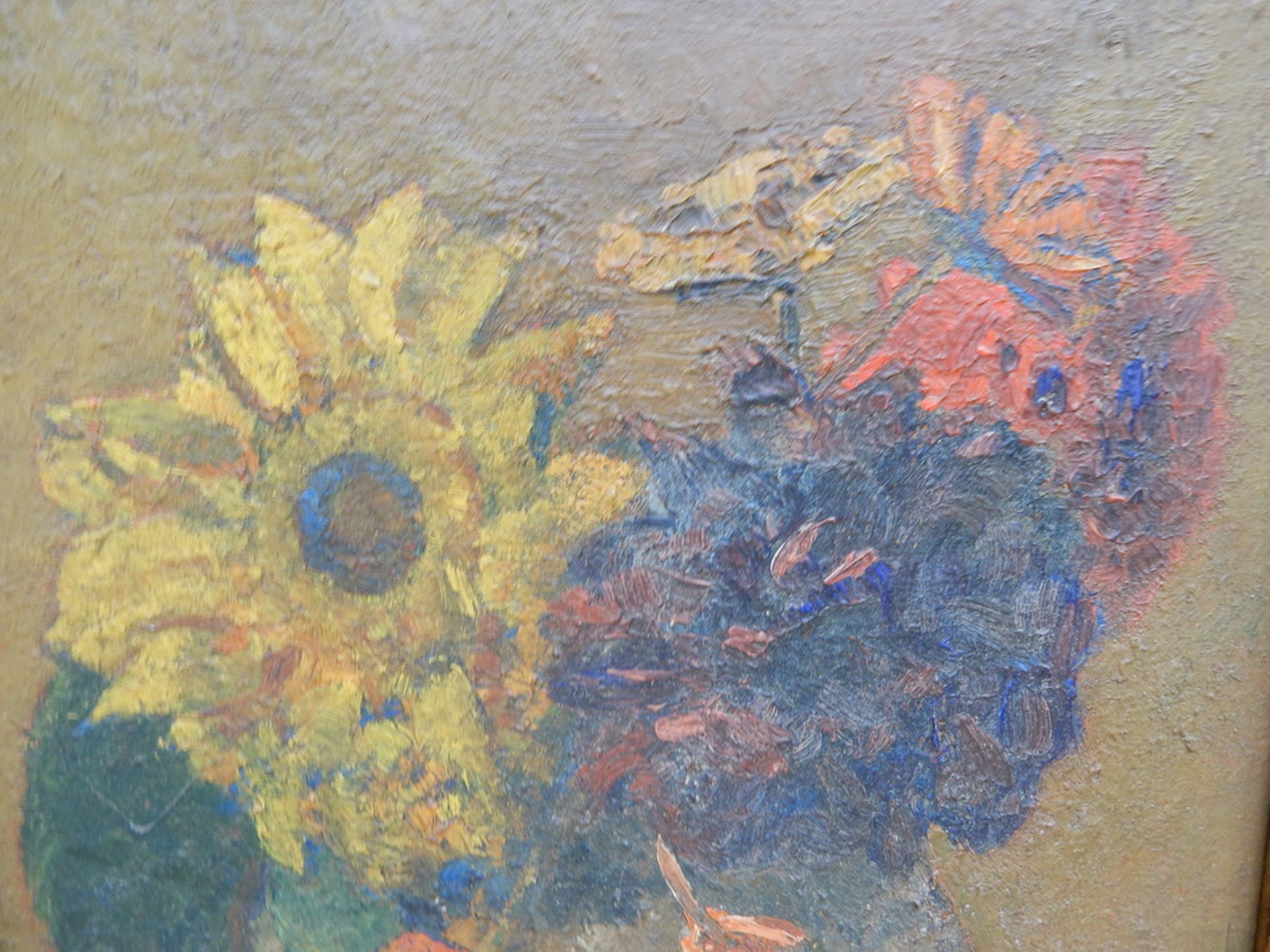 Cornelis Hendrik van Steenwijk, stilleven met bloemen in vaas, olieverf op panee kopen? Bied vanaf 75!