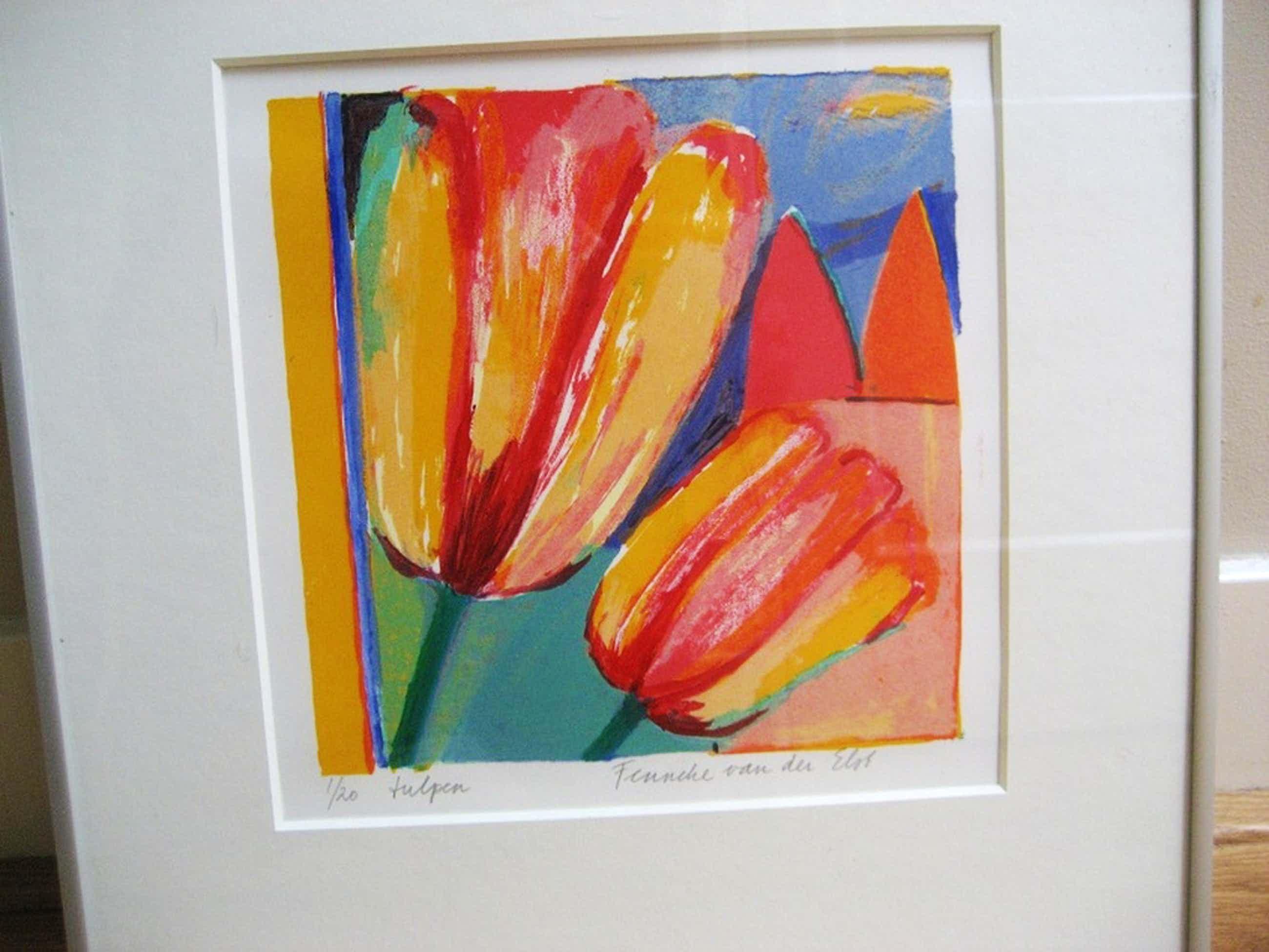 Fenneke van der Elst - ingelijste zeefdruk - 'Tulpen' kopen? Bied vanaf 40!