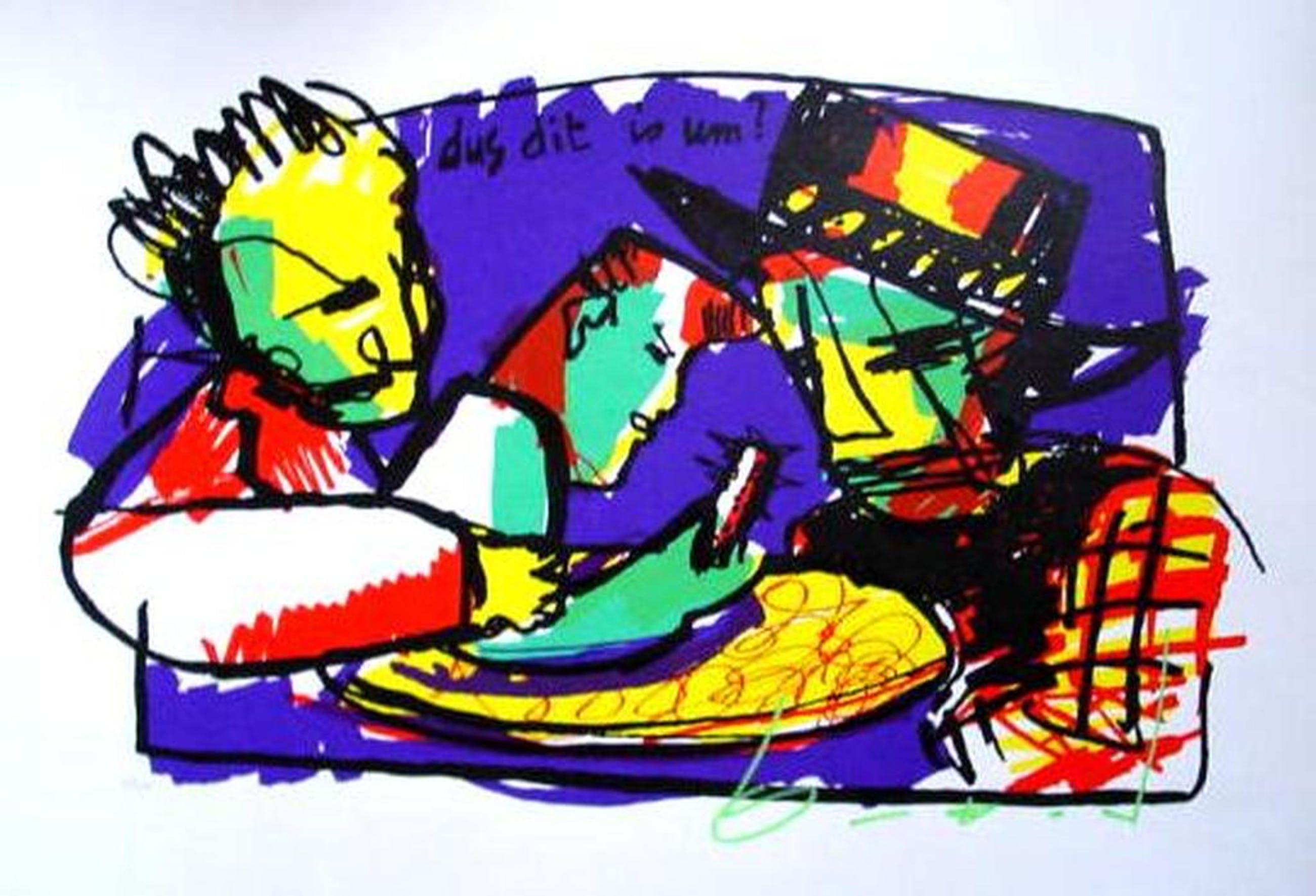HERMAN BROOD, grote gelimiteerde en handgesigneerde zeefdruk 'Dus dit is um' kopen? Bied vanaf 1!
