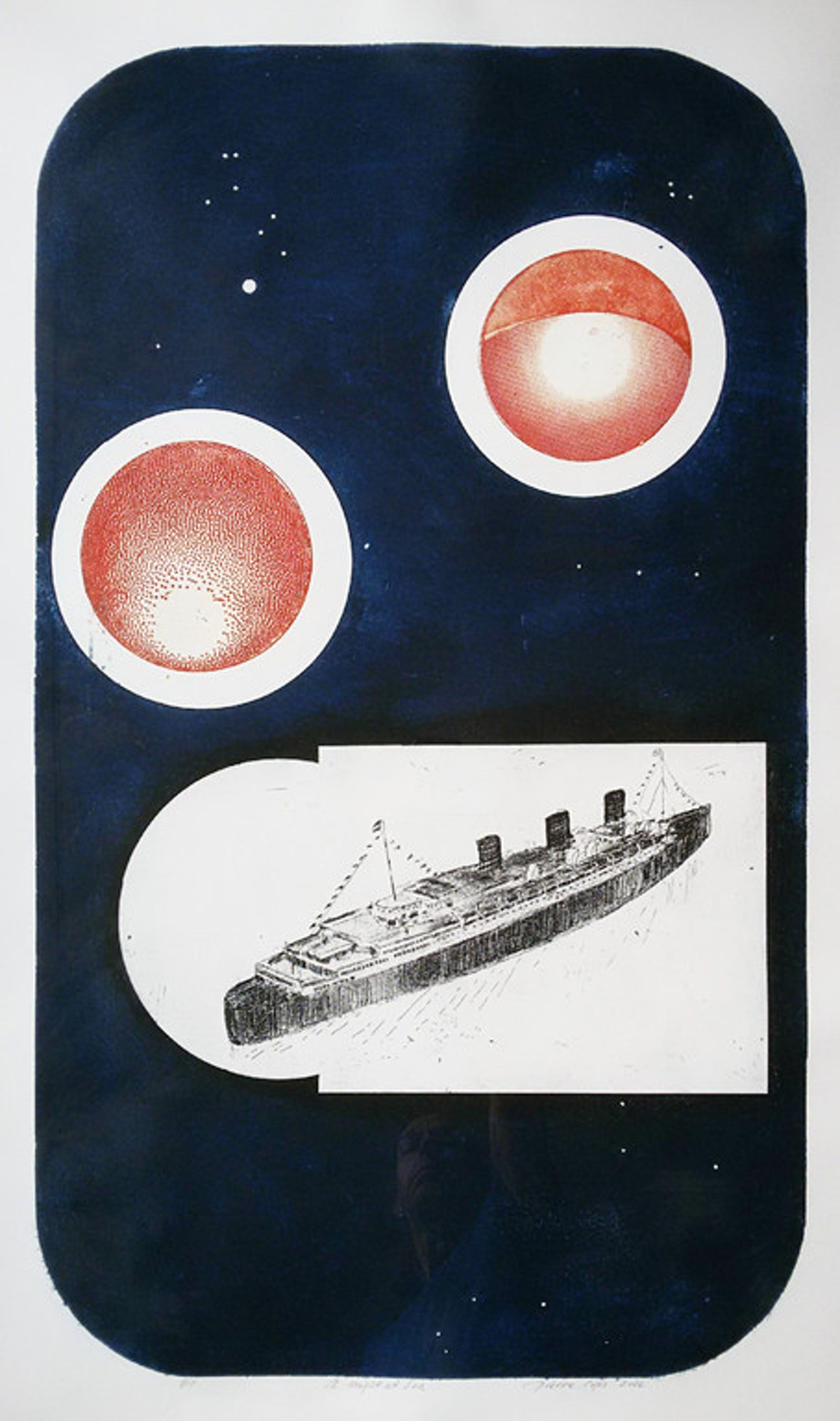 Pierre Cops - A night at sea, ets (mooi ingelijst, groot) kopen? Bied vanaf 80!