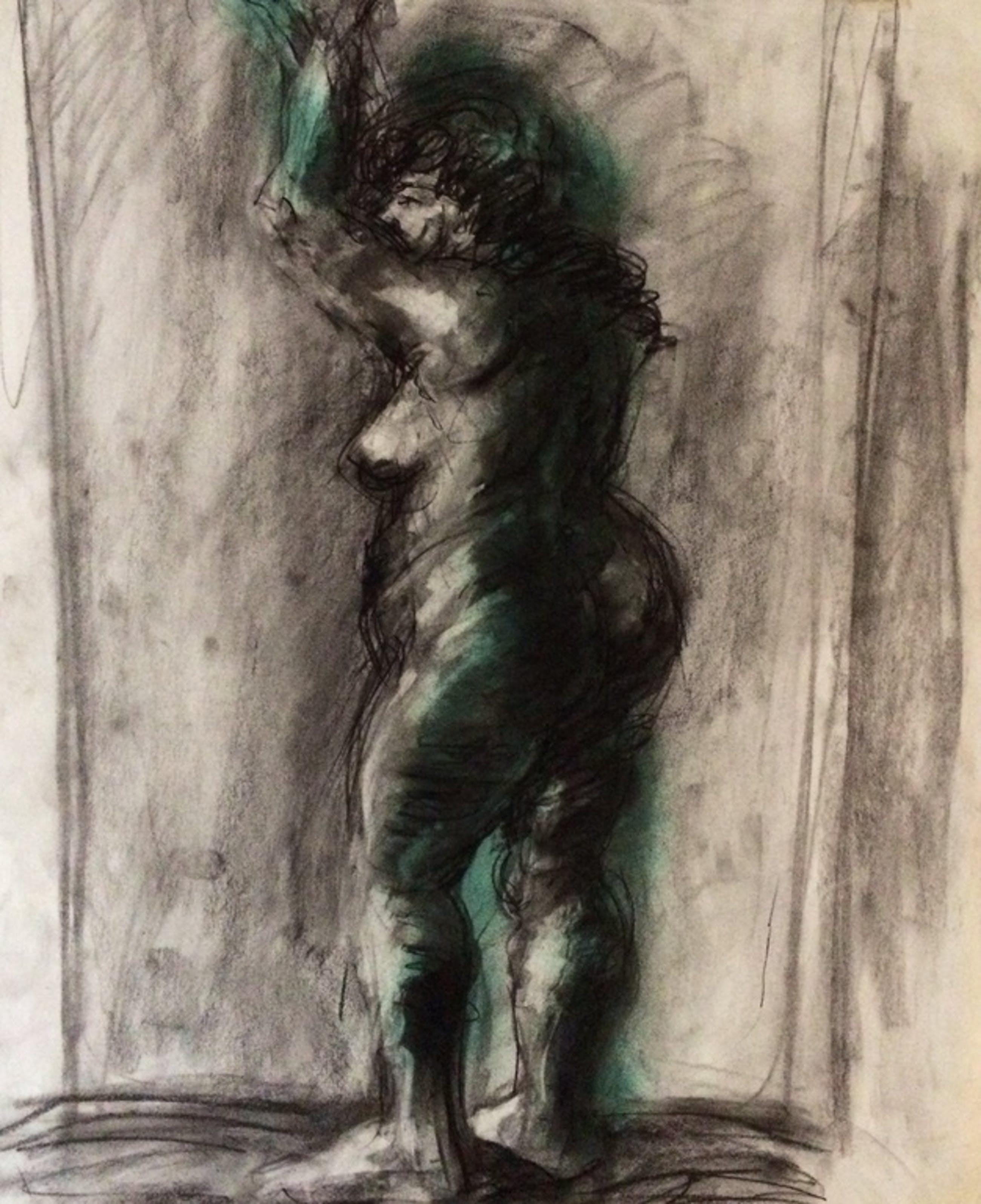 Peter Klashorst: Gemengde techniek op papier, Fat Lady in Green kopen? Bied vanaf 99!