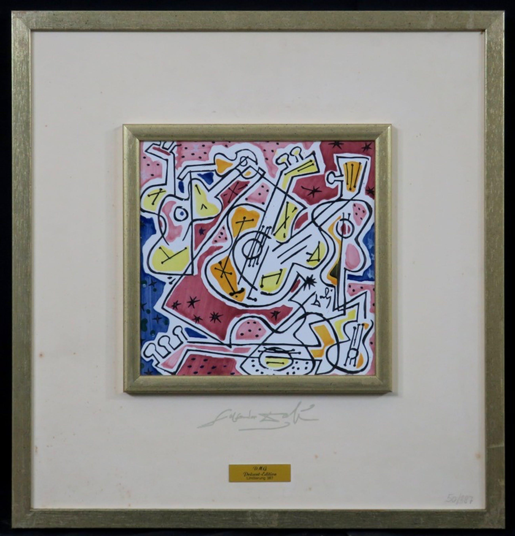 Tegel van aardewerk met ontwerp van Salvador Dali, Les guitares - Ingelijst kopen? Bied vanaf 100!