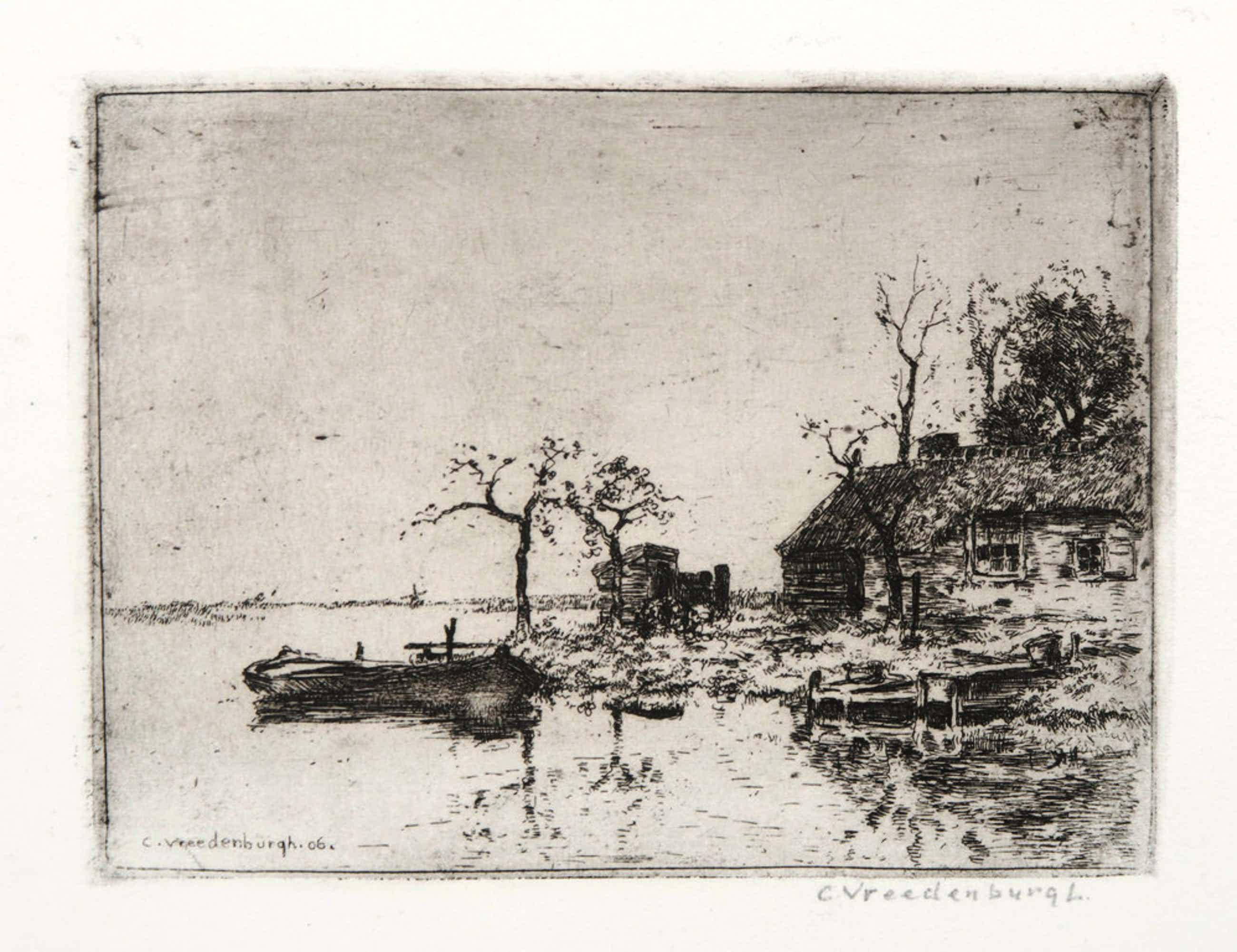 Cornelis Vreedenburgh: Ets, Boerderij en sloep kopen? Bied vanaf 45!