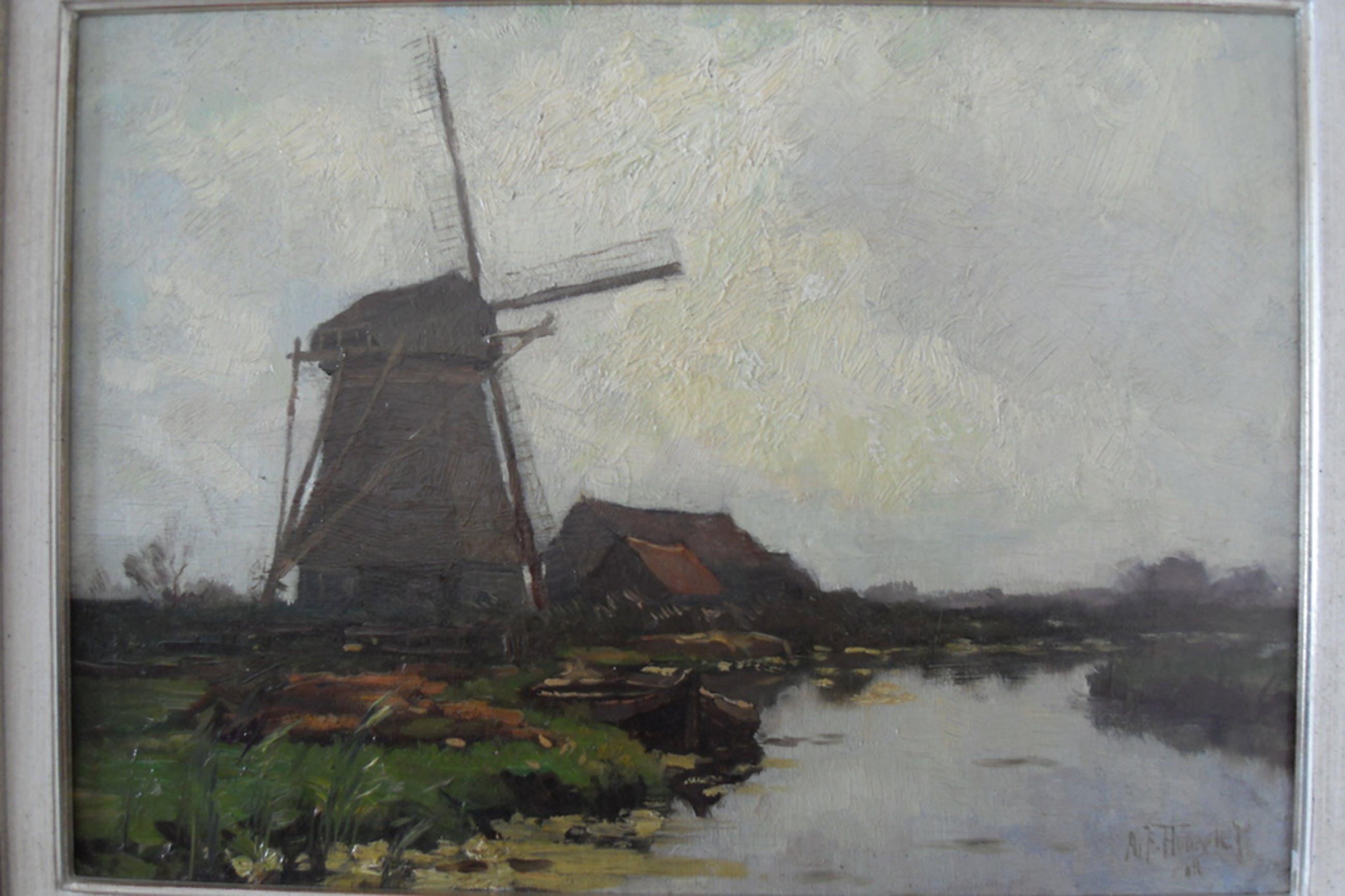 Frits Hubeek, Koenemolen Amstelveen 1917, olieverf op doek, 35 x 45, ro gesign kopen? Bied vanaf 275!