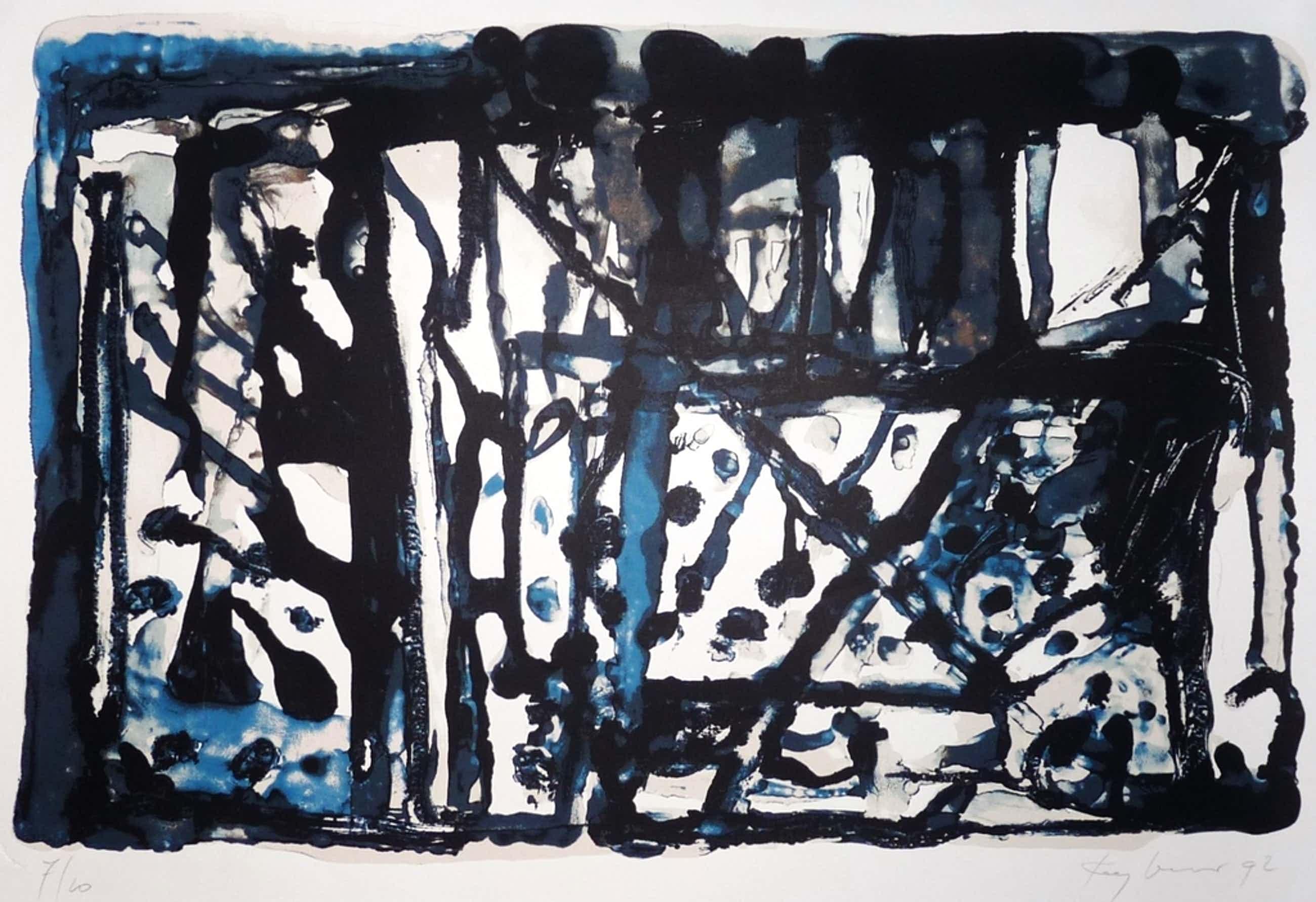 Theo Kuijpers: lithografie, Abstract, Gesigneerd, 1992, Oplage 10 ex.! kopen? Bied vanaf 75!