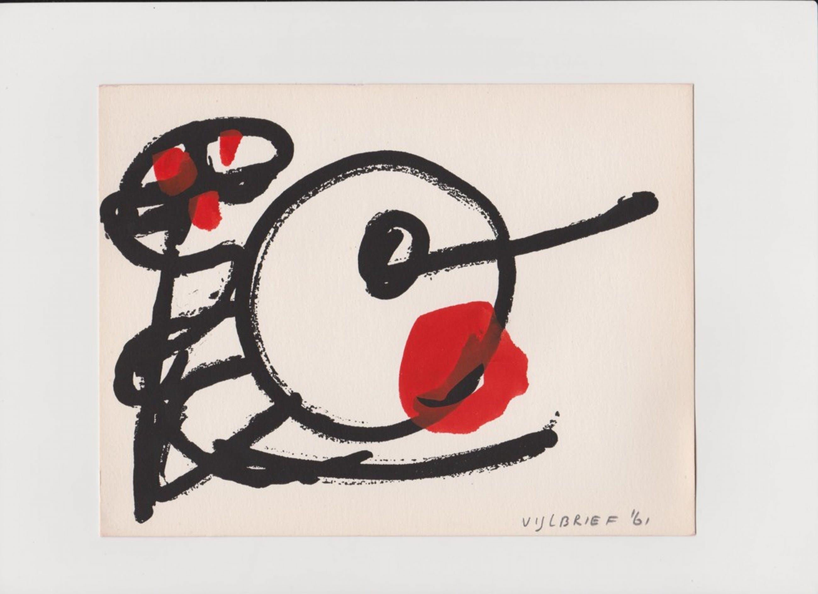 Ernst Vijlbrief 1961, tekening in Cobra stijl kopen? Bied vanaf 25!