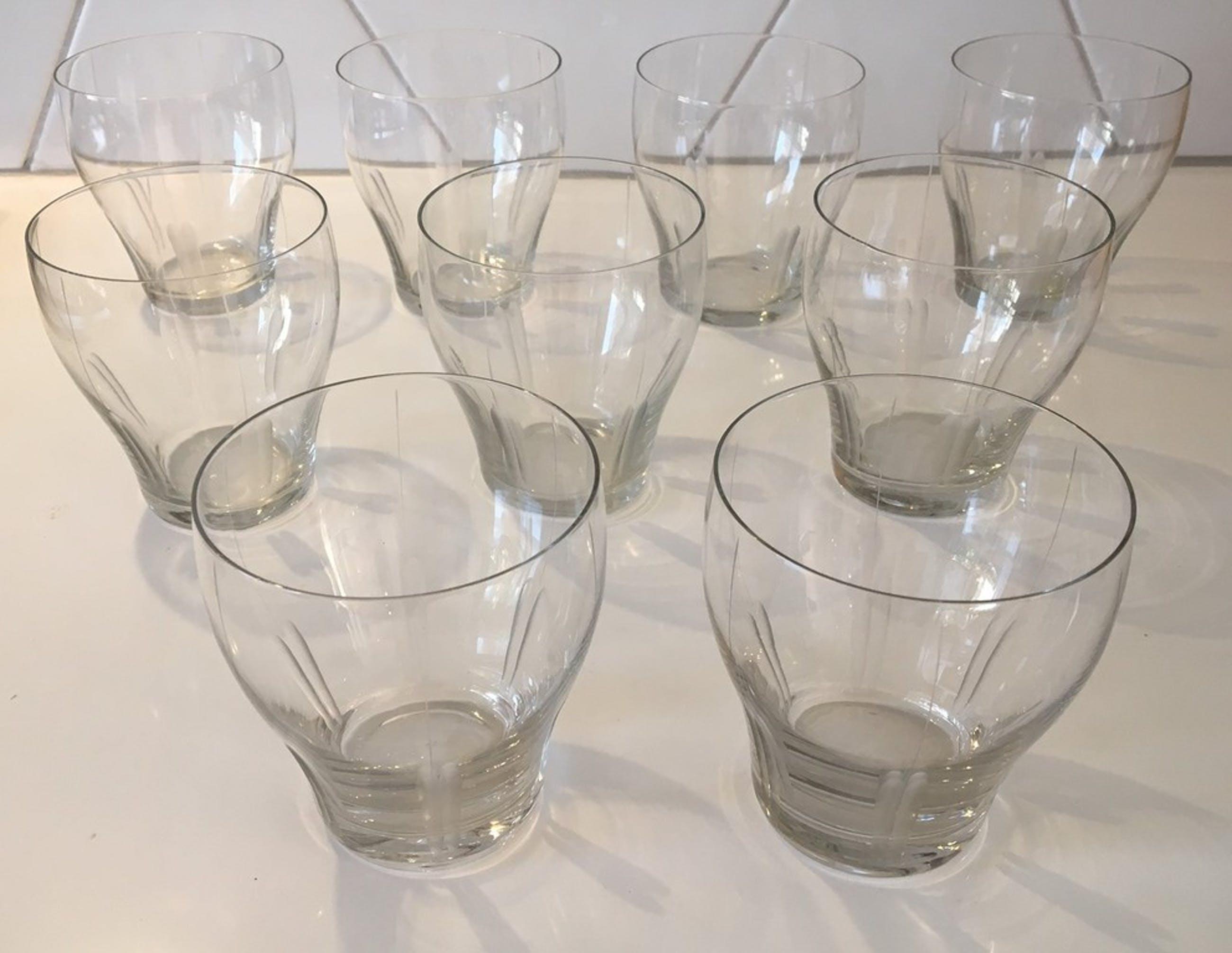 """Floris Meydam voor Leerdam - 9 waterglazen met luciferslijpsel servies """"Tulp""""  kopen? Bied vanaf 28!"""