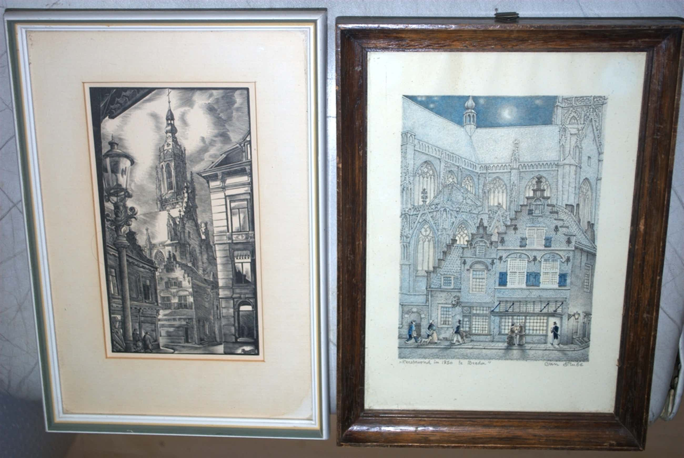 JAN STRUBE litho Kerstavond te BREDA en JAN SLEPER (1919-2002) houtgravure BREDA kopen? Bied vanaf 45!