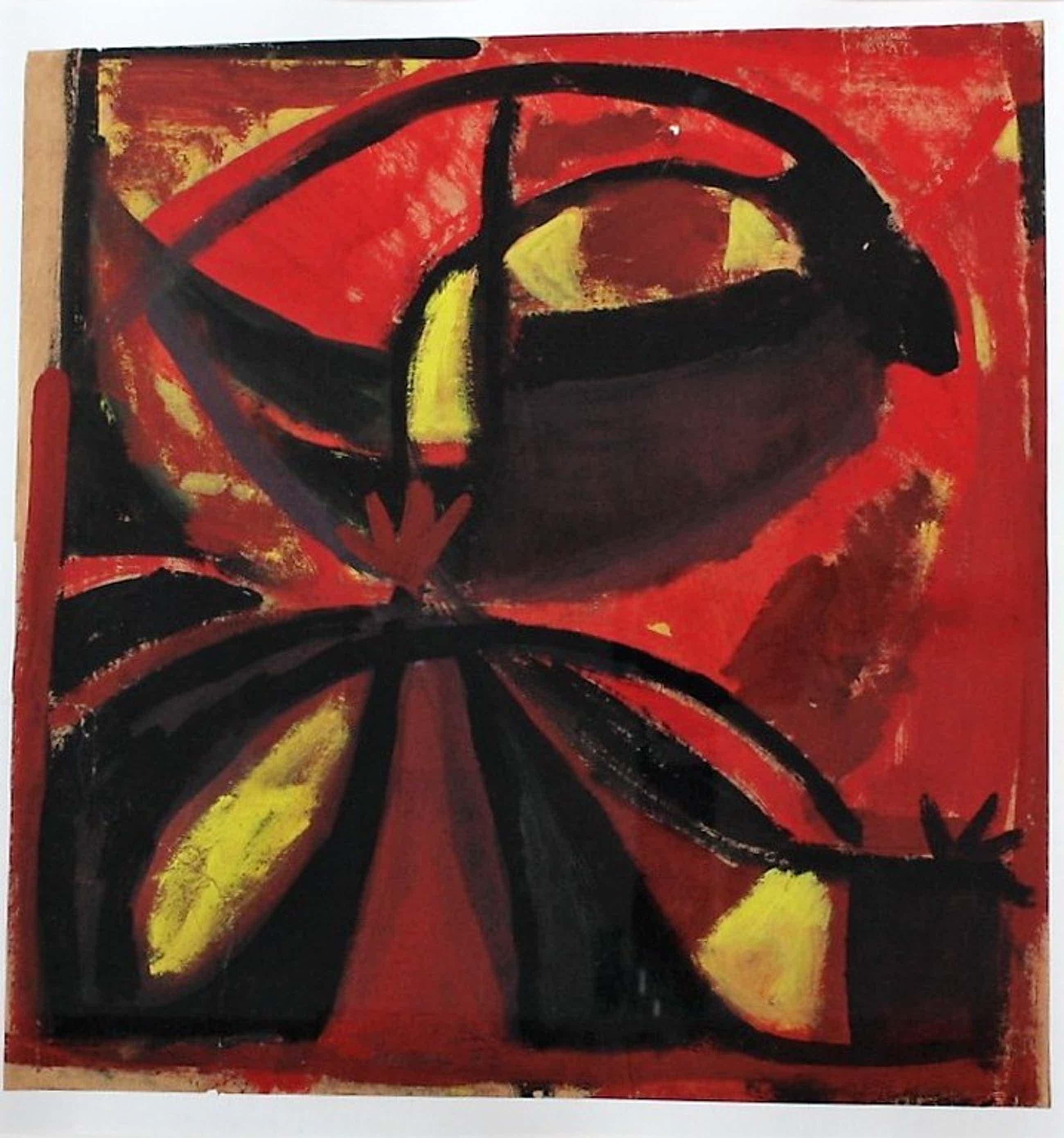 Ernst Vijlbrief (1934-2010) gouache op papier, abstracte compositie  kopen? Bied vanaf 100!