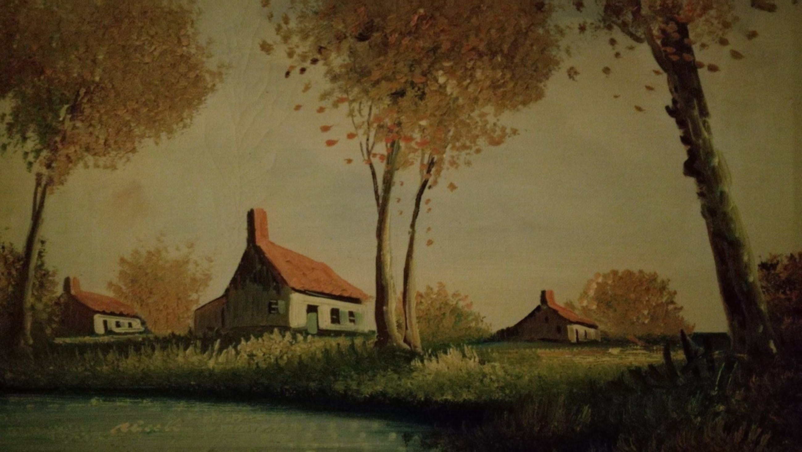Onbekend kunstenaar, Olieverf op doek, Hoeve landschap kopen? Bied vanaf 1!
