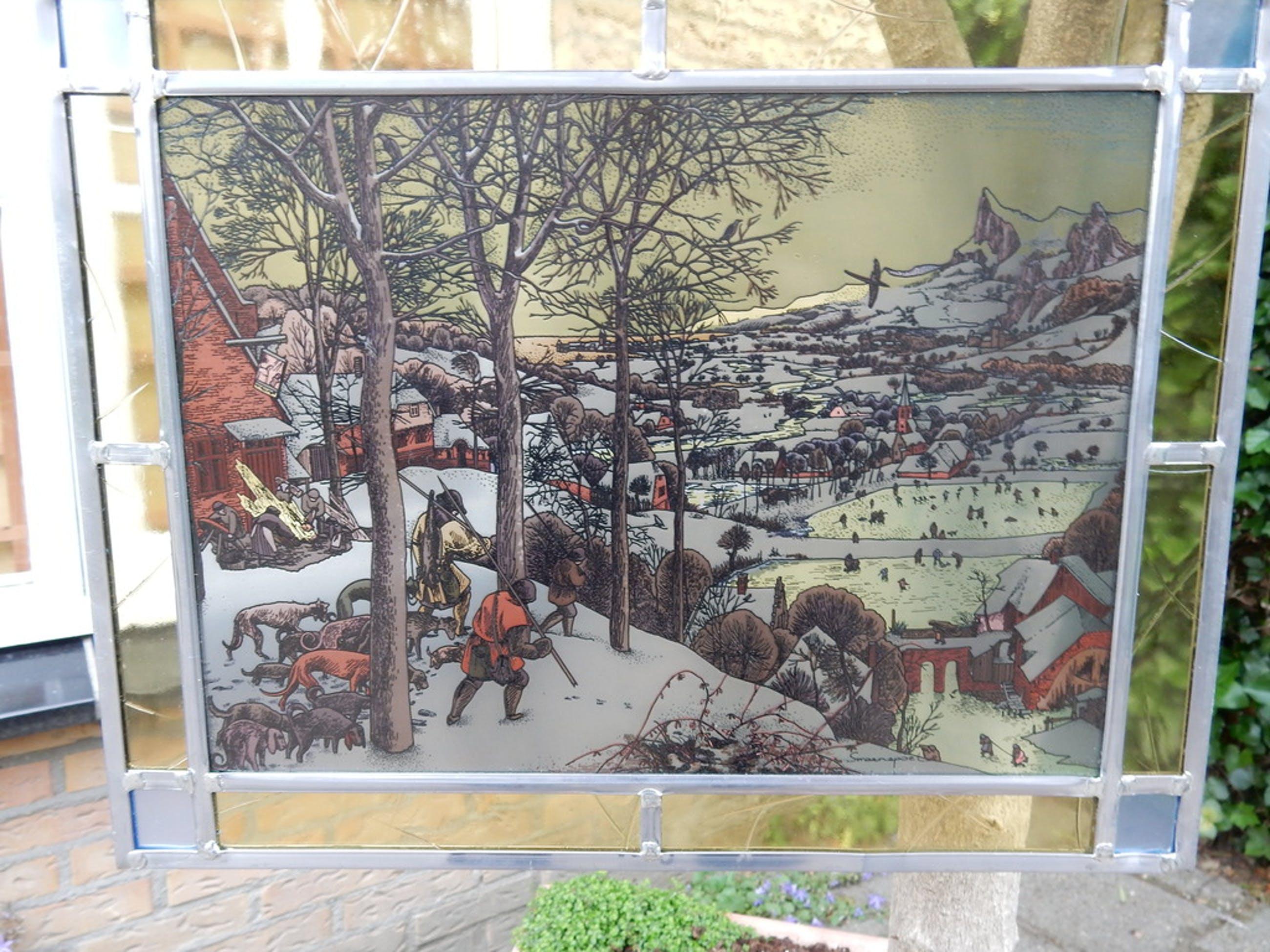 Gerard Swaenepoel, gebrandschilderd glas-in-lood werk, winters landschap kopen? Bied vanaf 75!