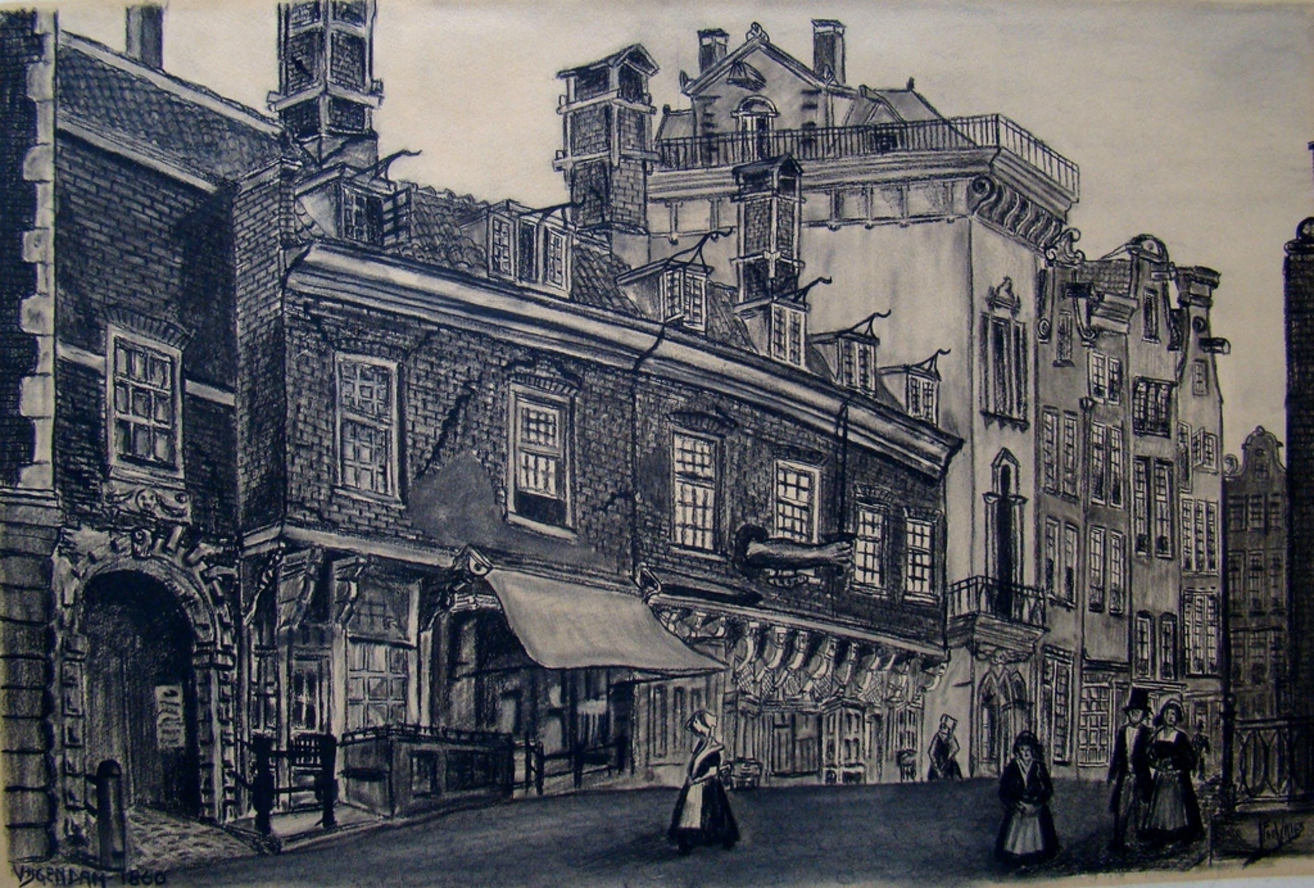 Oude tekening Beurspoortje van Hendrick de Keyser - Vijgendam - Amsterdam kopen? Bied vanaf 15!
