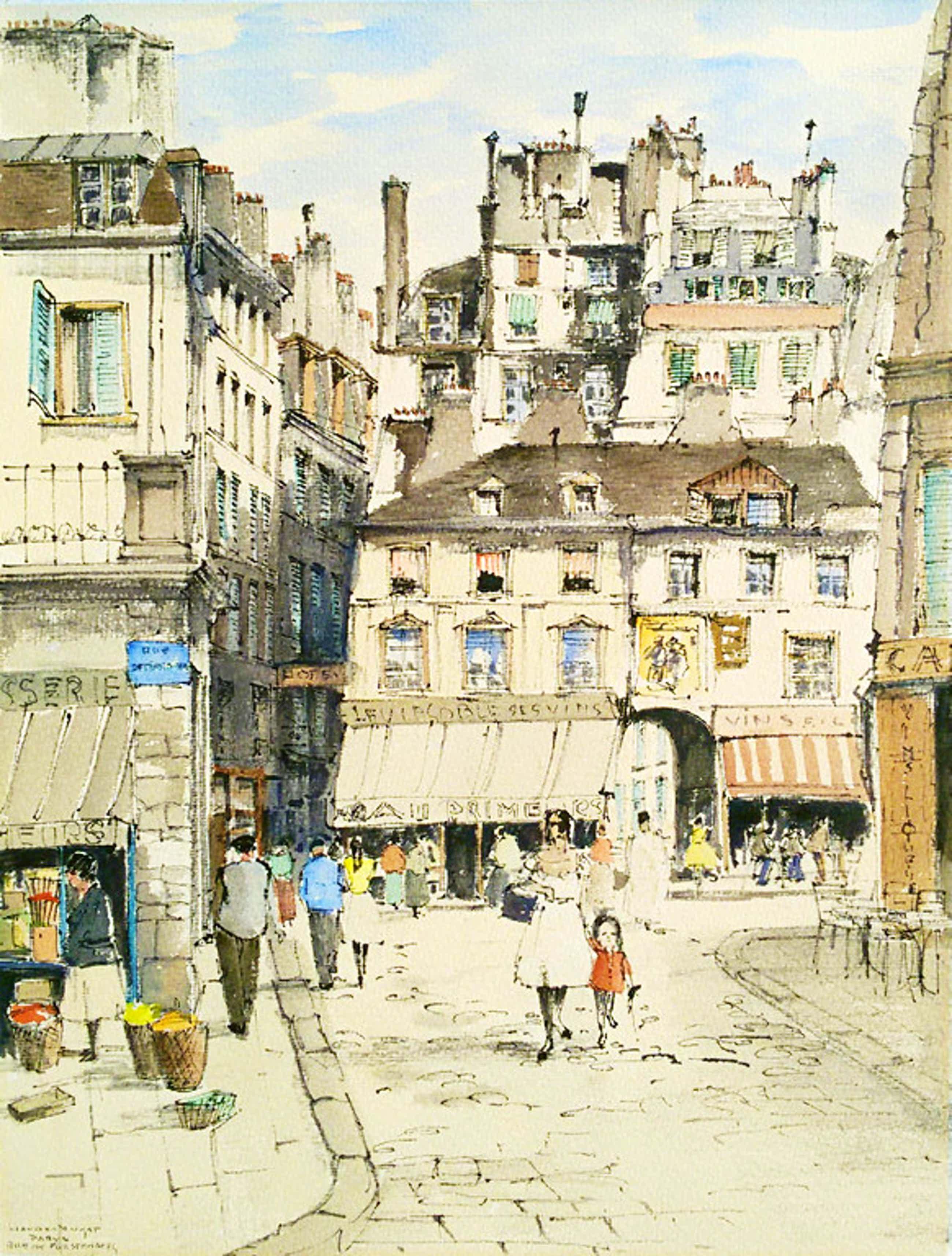 Jan den Hengst - Parijs, aquarel / tekening kopen? Bied vanaf 50!