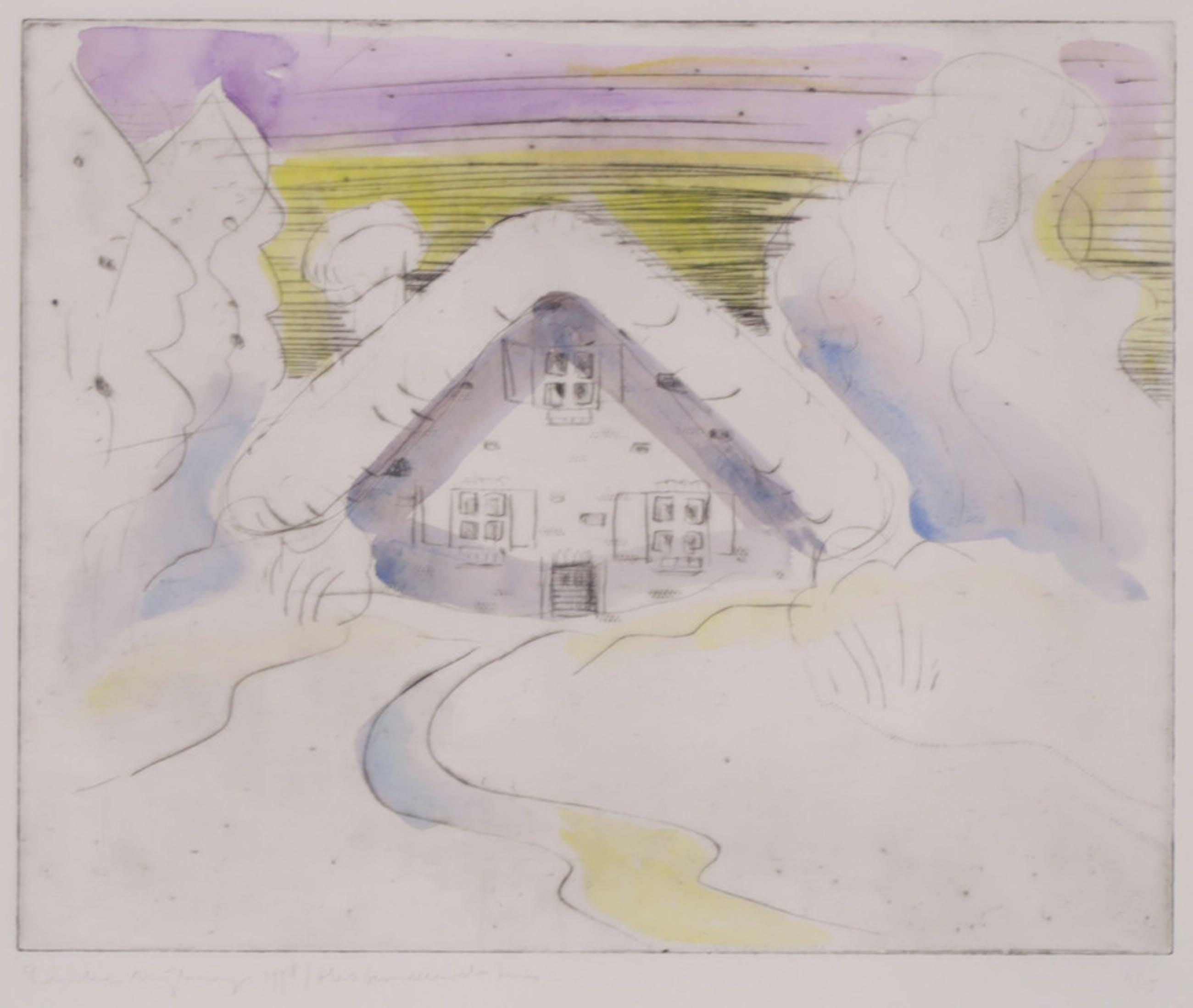 Rinke Nijburg: Ets, Het besneeuwde huis - Ingelijst kopen? Bied vanaf 20!