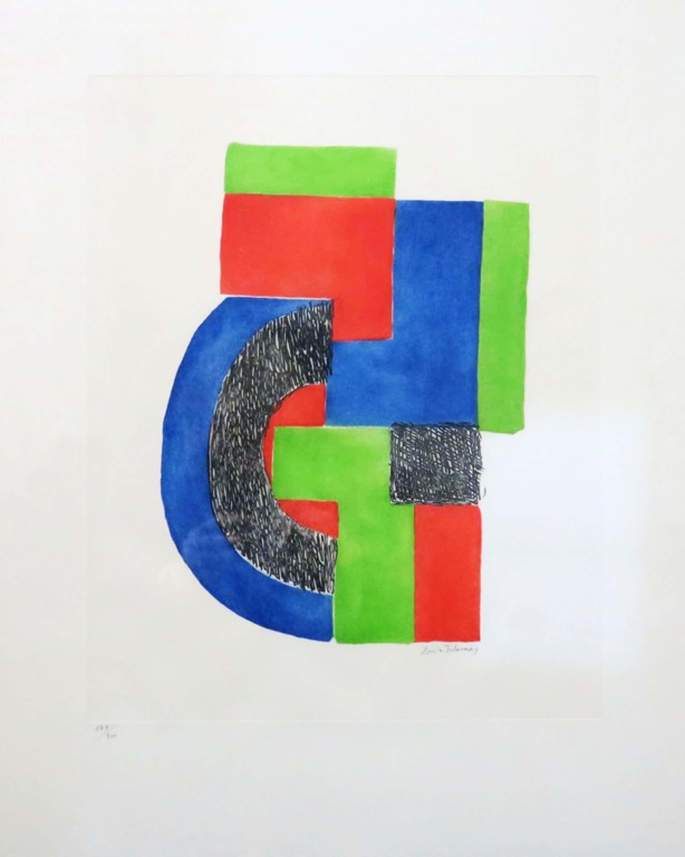 Sonia Delaunay: Ets, Zonder titel (compositie met zwart, blauw en rood) kopen? Bied vanaf 251!
