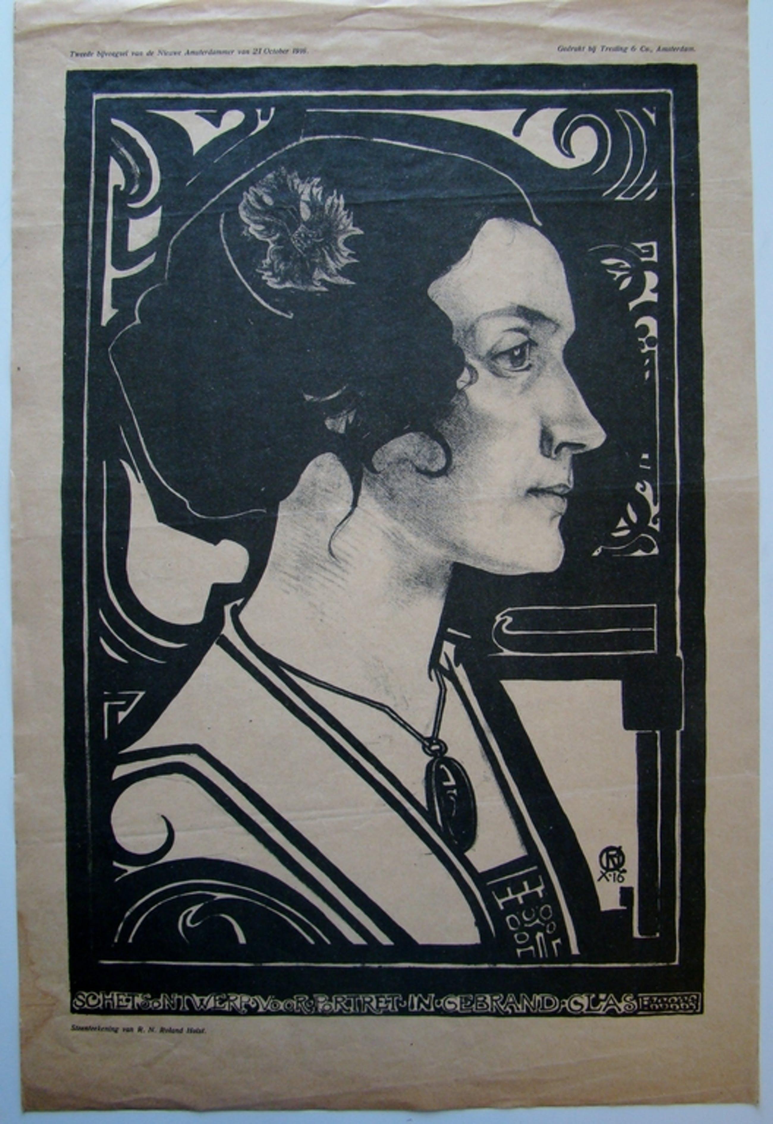 Portret Henriette Roland Holst - prent als bijvoegsel bij De Amsterdammer 1916 kopen? Bied vanaf 1!