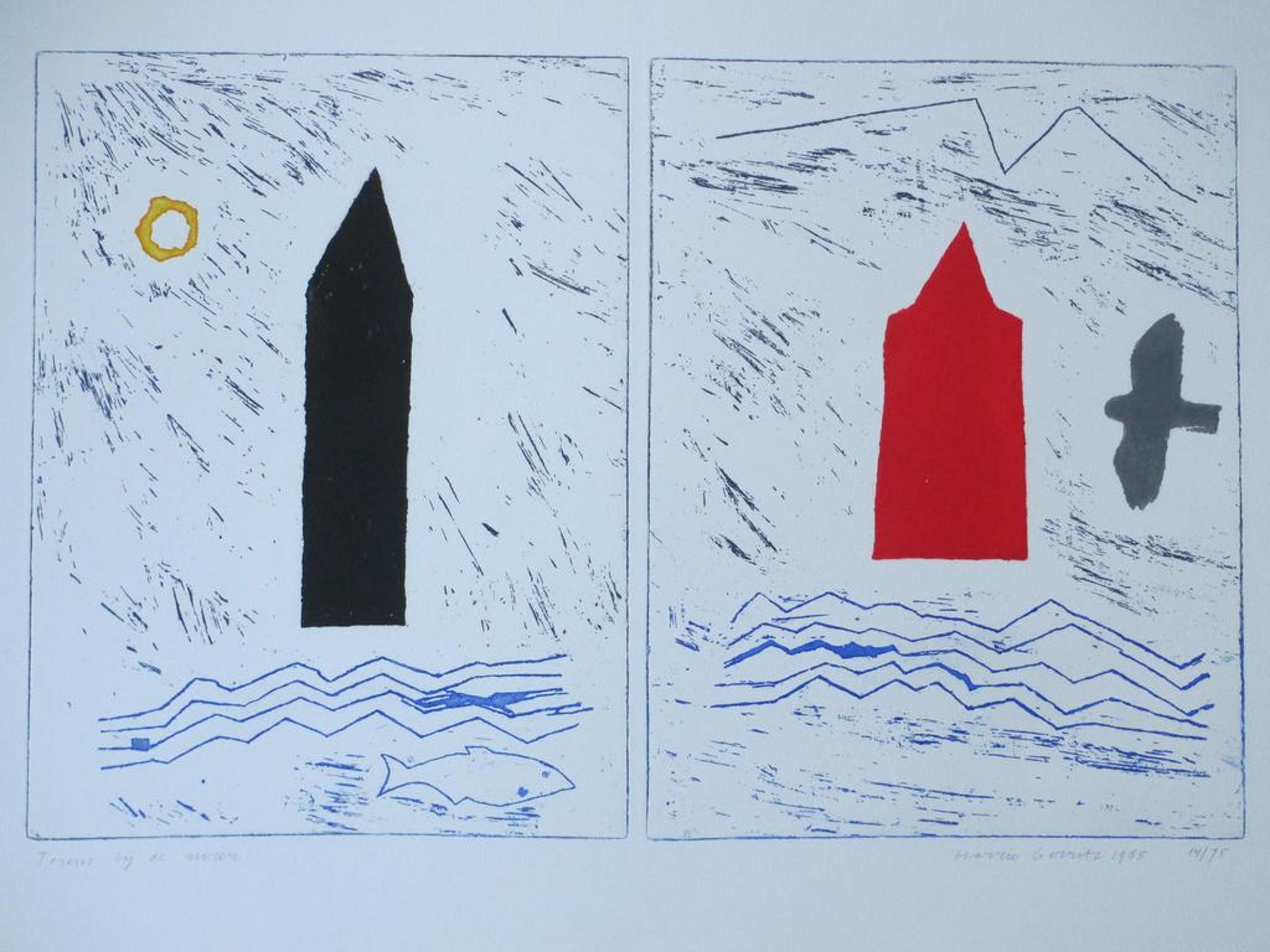 Harrie Gerritz, Torens bij de Rivier, Kleurets kopen? Bied vanaf 75!
