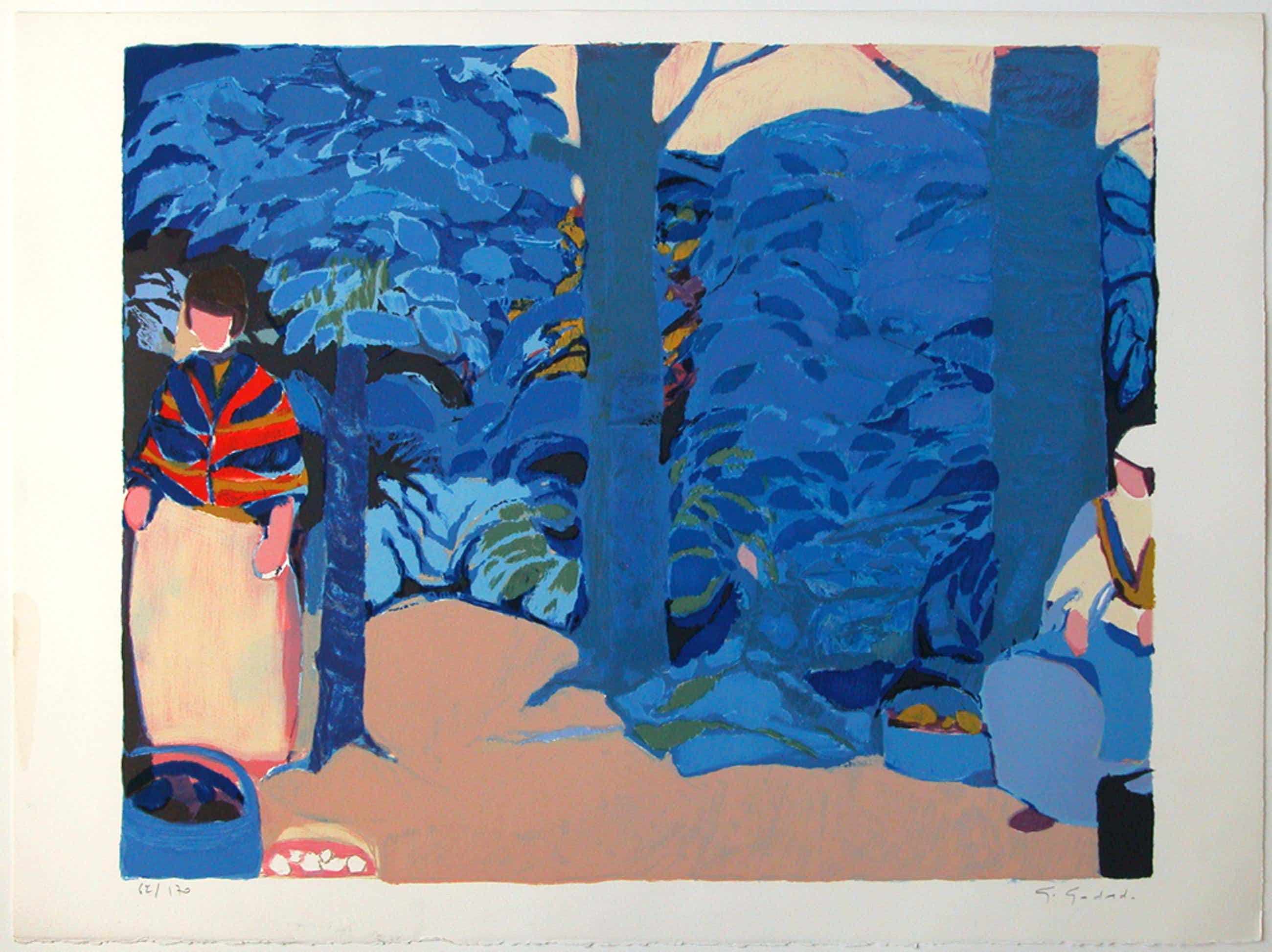GABRIEL GODARD originele litho 'Arbres bleus' handgesigneerd kopen? Bied vanaf 85!