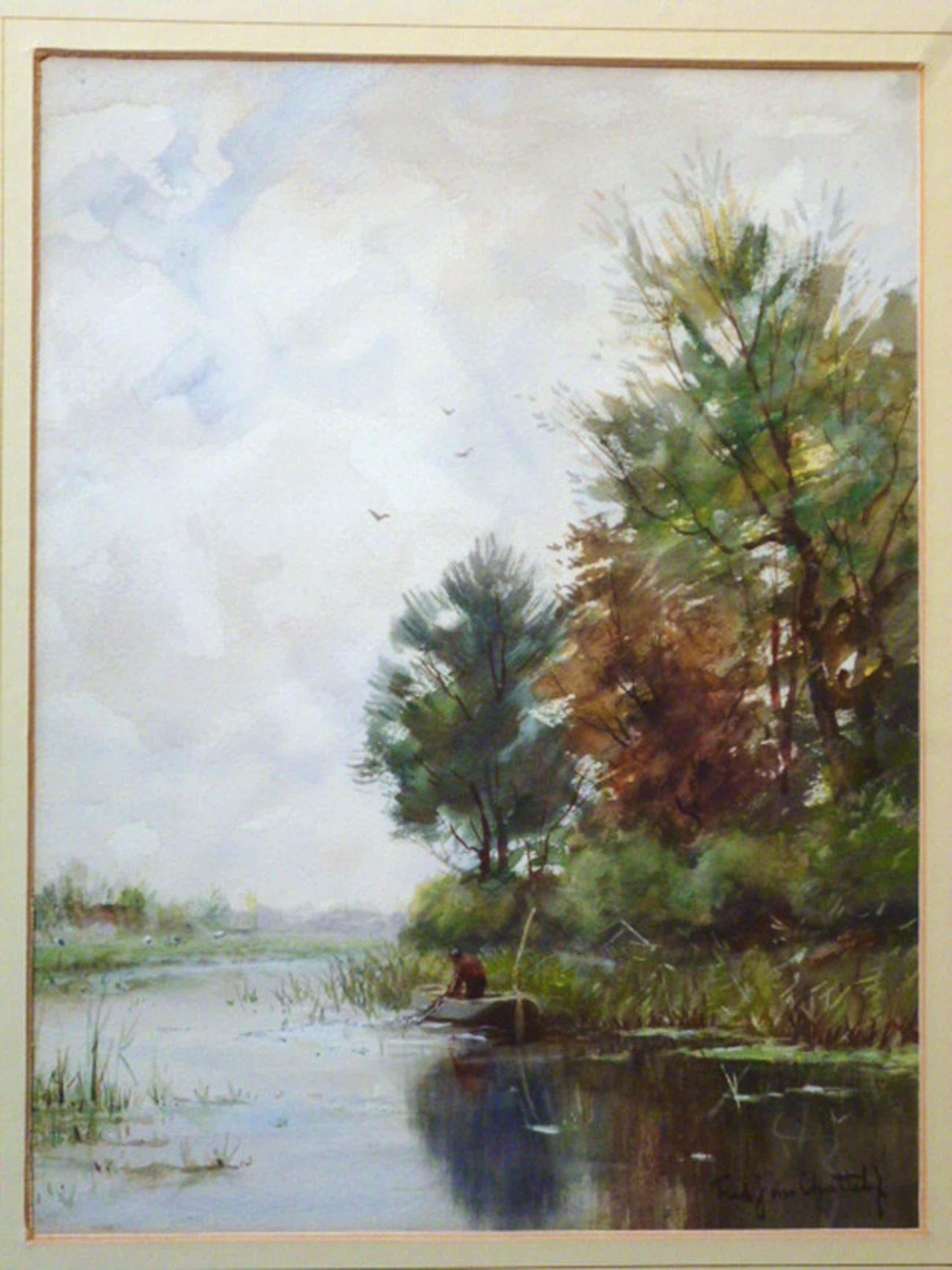 Fred. J. van Rossum du Chattel - aquarel - Visser in roeiboot kopen? Bied vanaf 150!