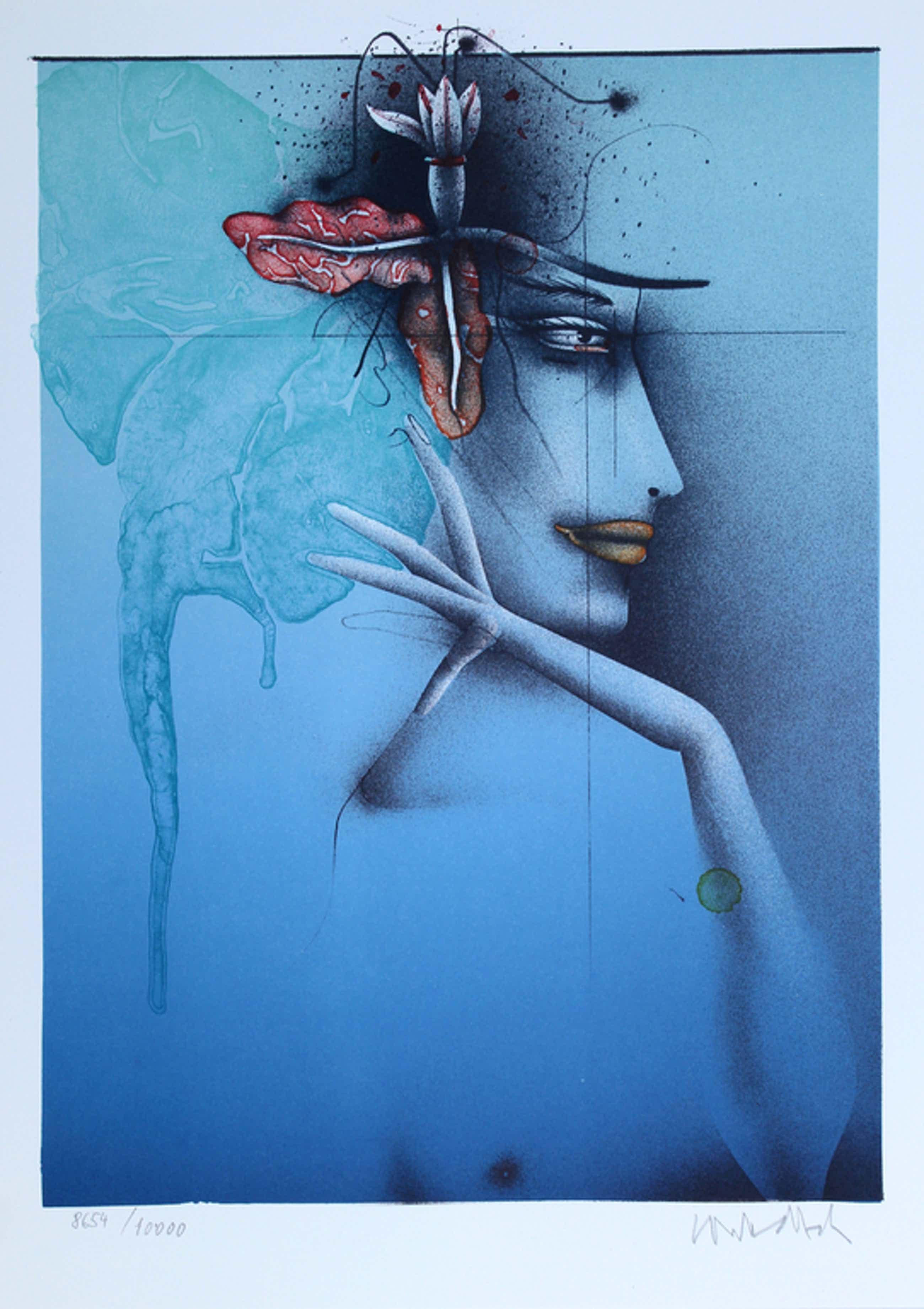 Paul Wunderlich - Handgesigneerde lithografie, Tête d'une Femme (Bleu) kopen? Bied vanaf 75!