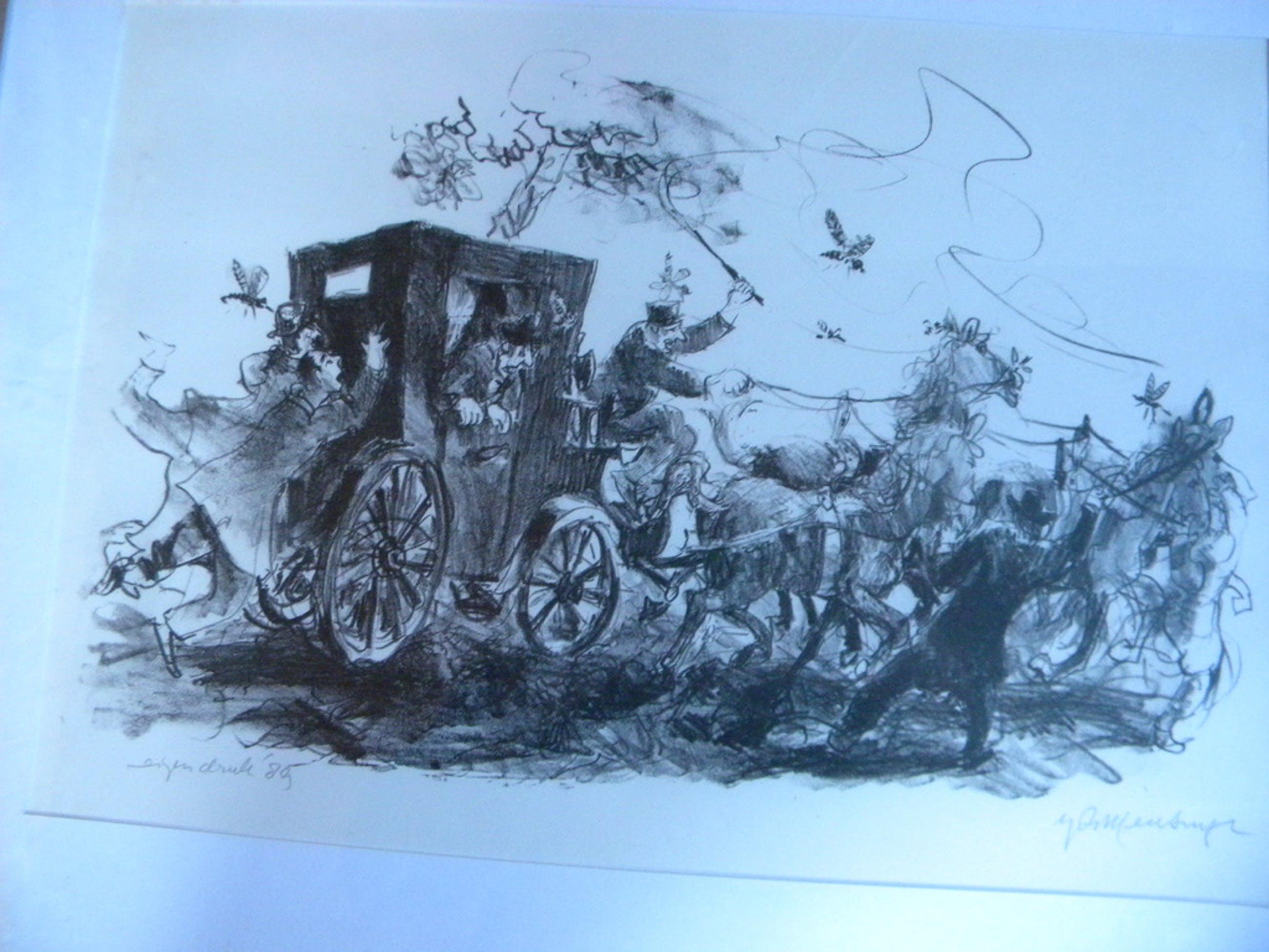 """Jan Mensinga- lithografie """"De reiswagen en de vlieg"""" kopen? Bied vanaf 1!"""