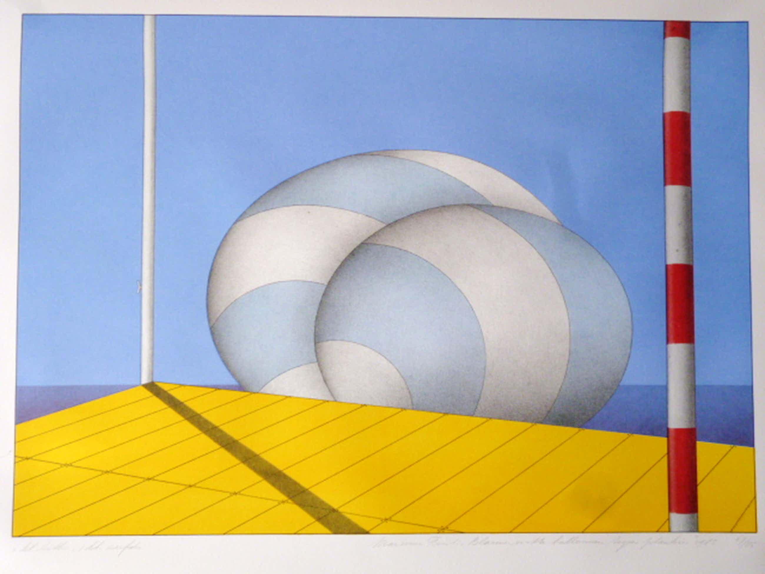 Marinus Fuit - litho/zeefdruk -  Blauw-witte ballonnen tegen plankier kopen? Bied vanaf 75!