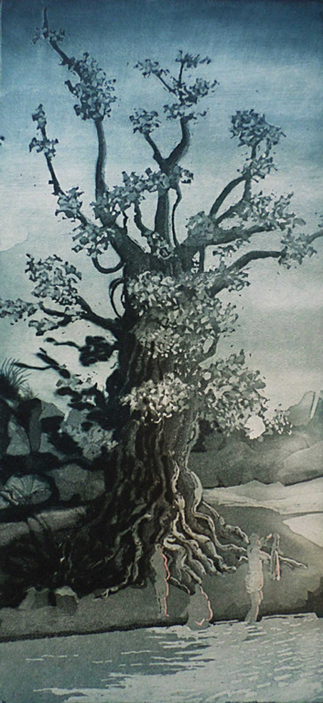 Sjoerd Bakker - Mensen bij rivier onder een boom, aquatint ets kopen? Bied vanaf 40!