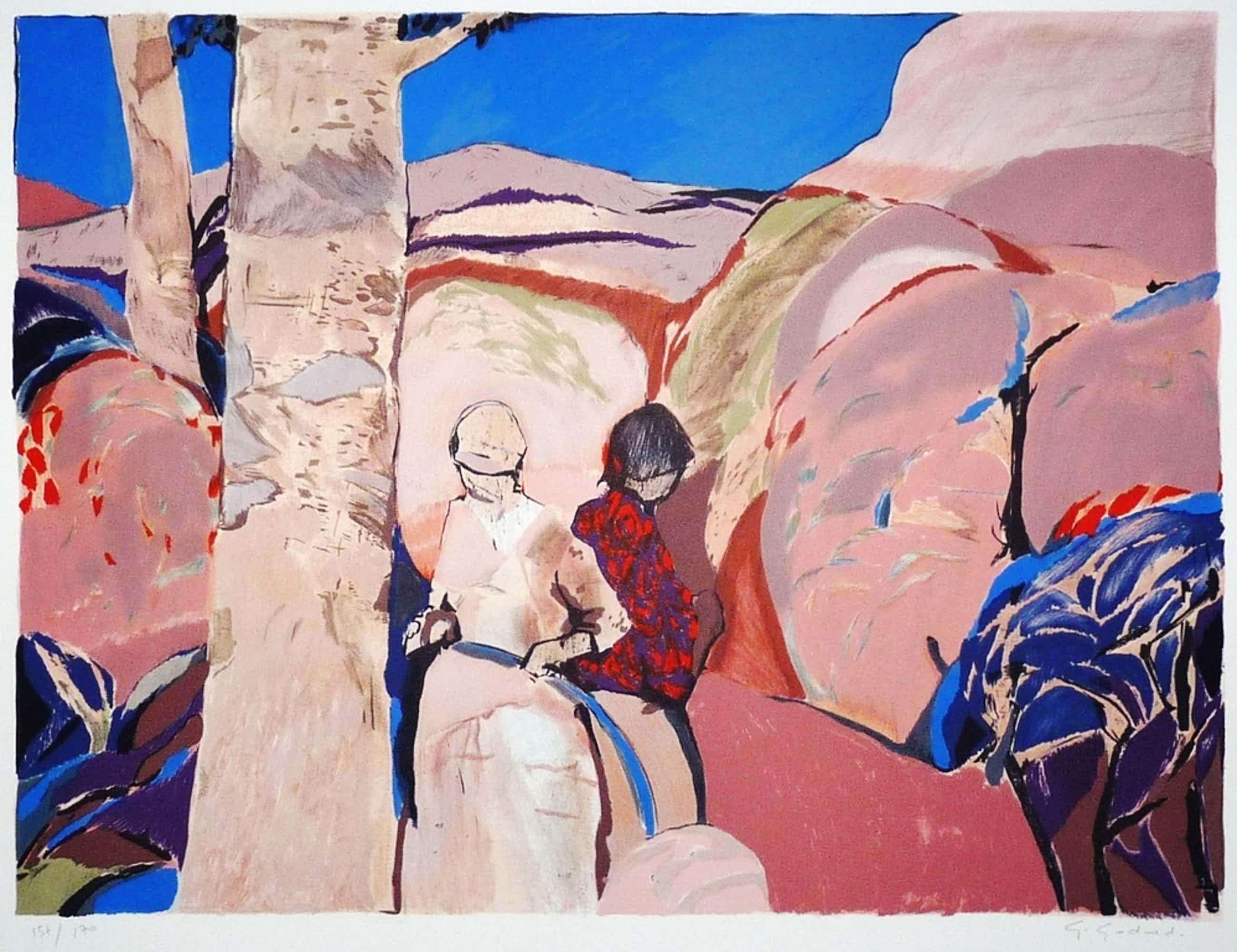 Gabriël Godard: Kleurenlitho, Deux Femmes, Gesigneerd kopen? Bied vanaf 75!