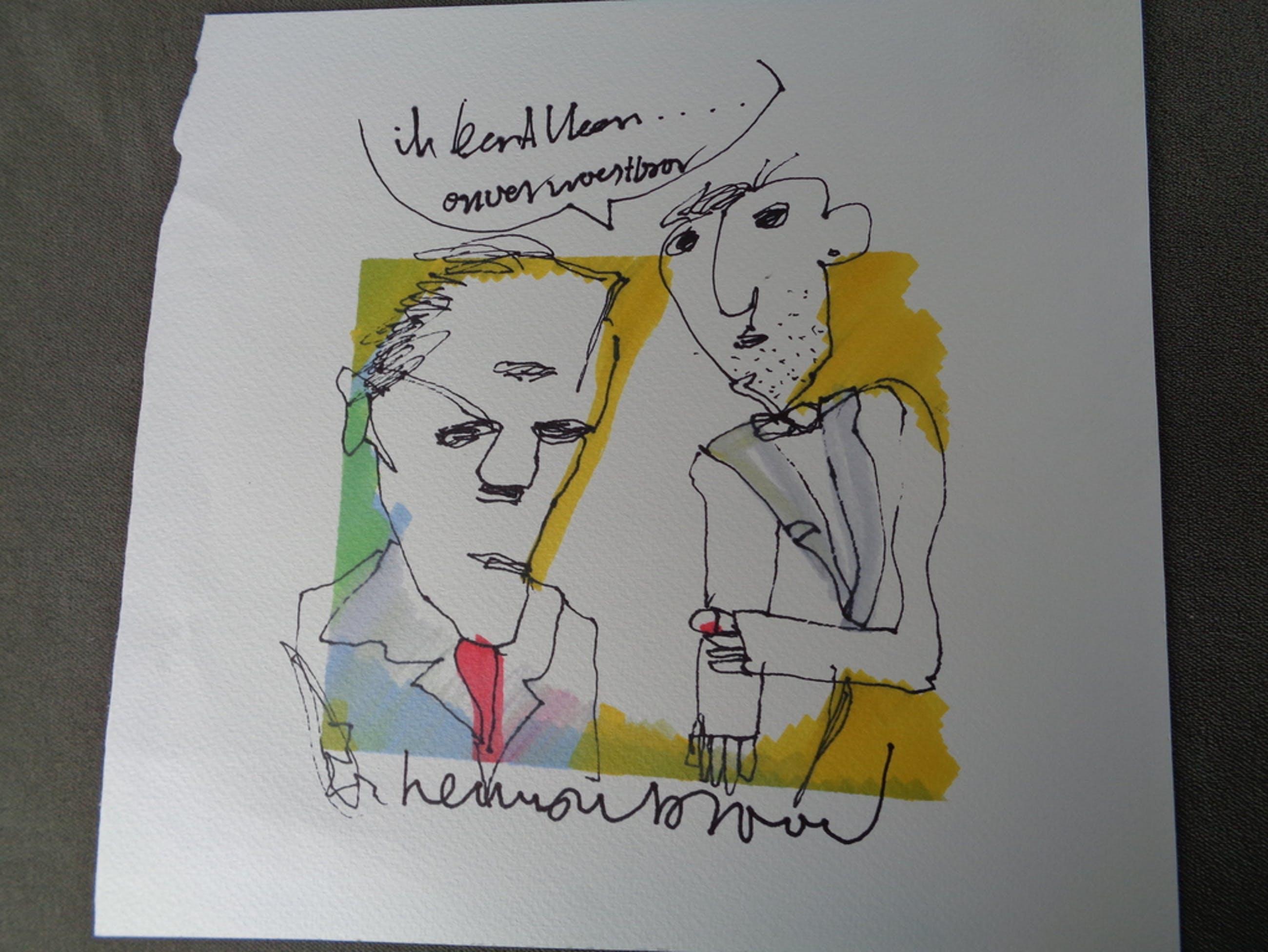 HERMAN BROOD, originele tekening op papier 'Ik ben alleen onverwoestbaar' kopen? Bied vanaf 1!