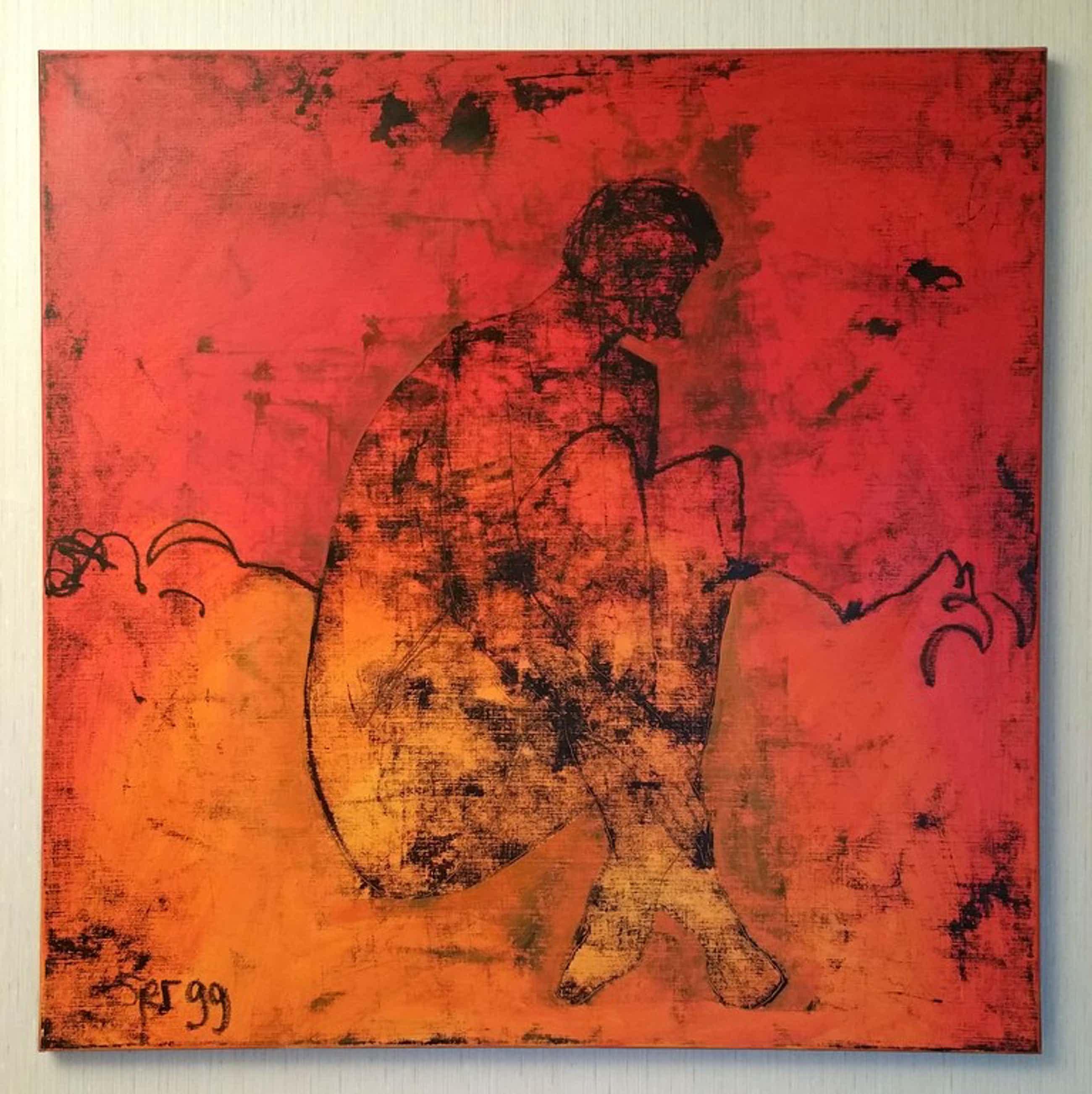 """Sjer Jacobs, Olieverf op doek, """"Zittende vrouw"""", 100x100cm, 1999 kopen? Bied vanaf 285!"""