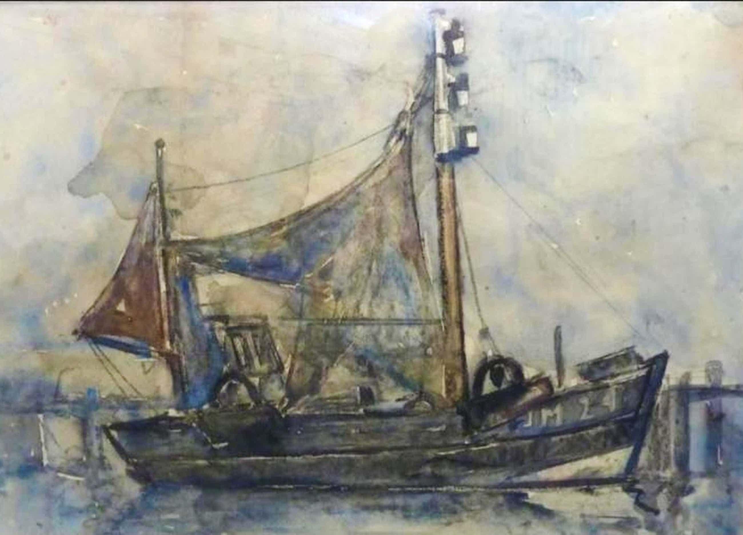 FRANS VERPOORTEN aquarel vissersboot IJM 24 (IJmuiden) (Heyboer) kopen? Bied vanaf 45!