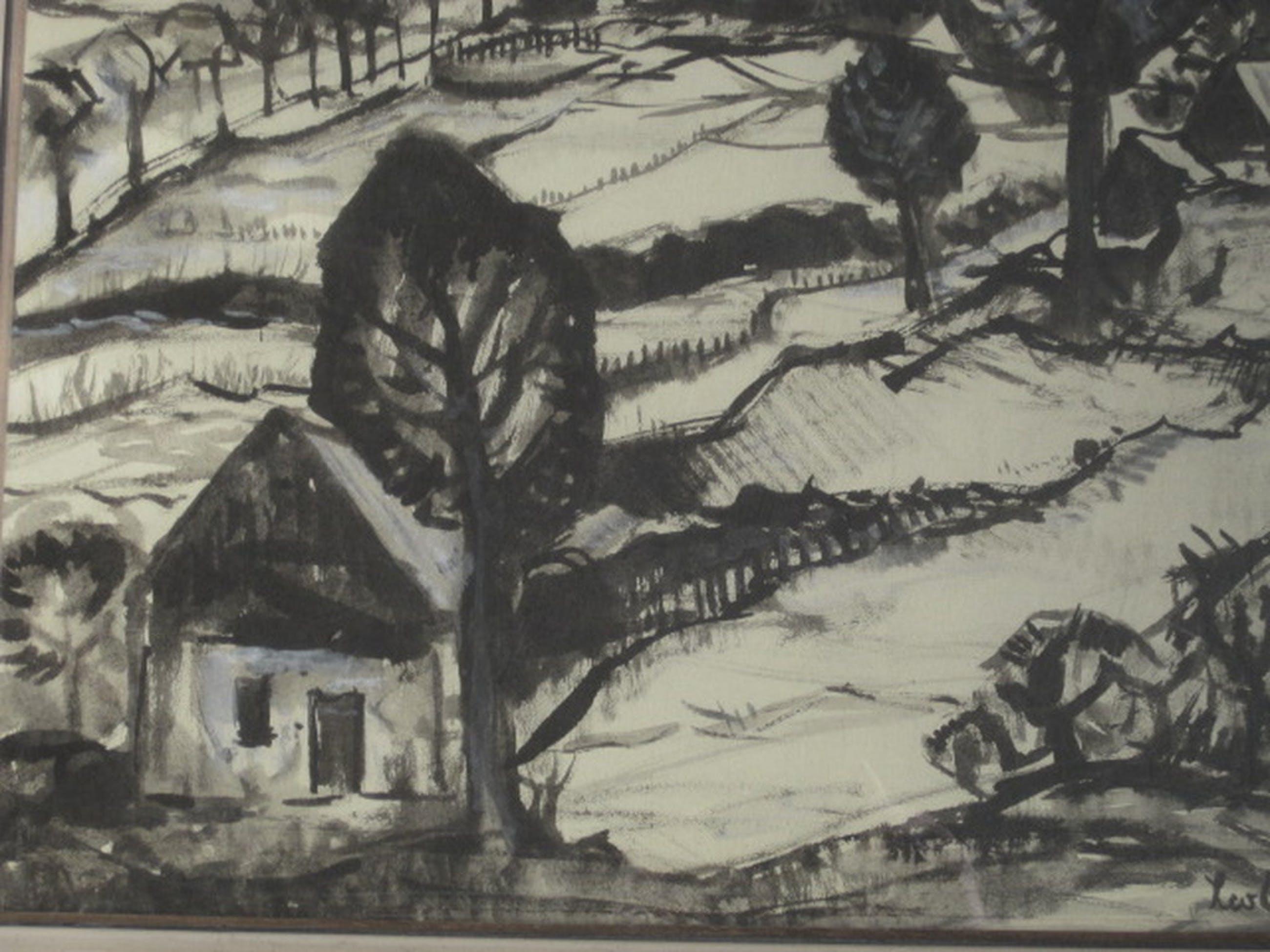 gesigneerd Leo Gestel 1923 inkttekening opgeh met wit Rehefeld Duitsland  kopen? Bied vanaf 1!