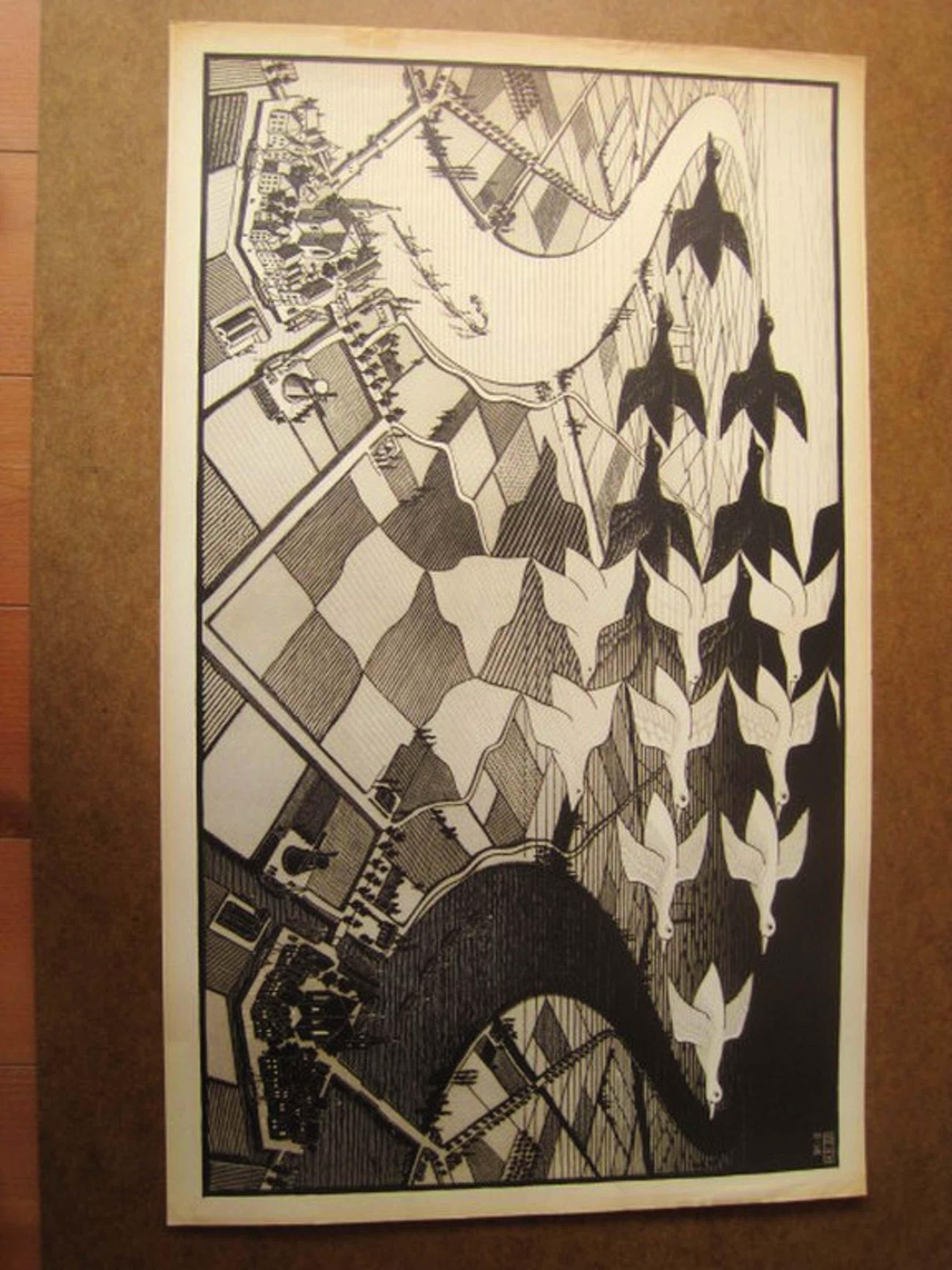 """M.C.Escher1898-1972 oude lithografie """"Dag en Nacht 1938"""" Oudekerk a/d Amstel  kopen? Bied vanaf 180!"""