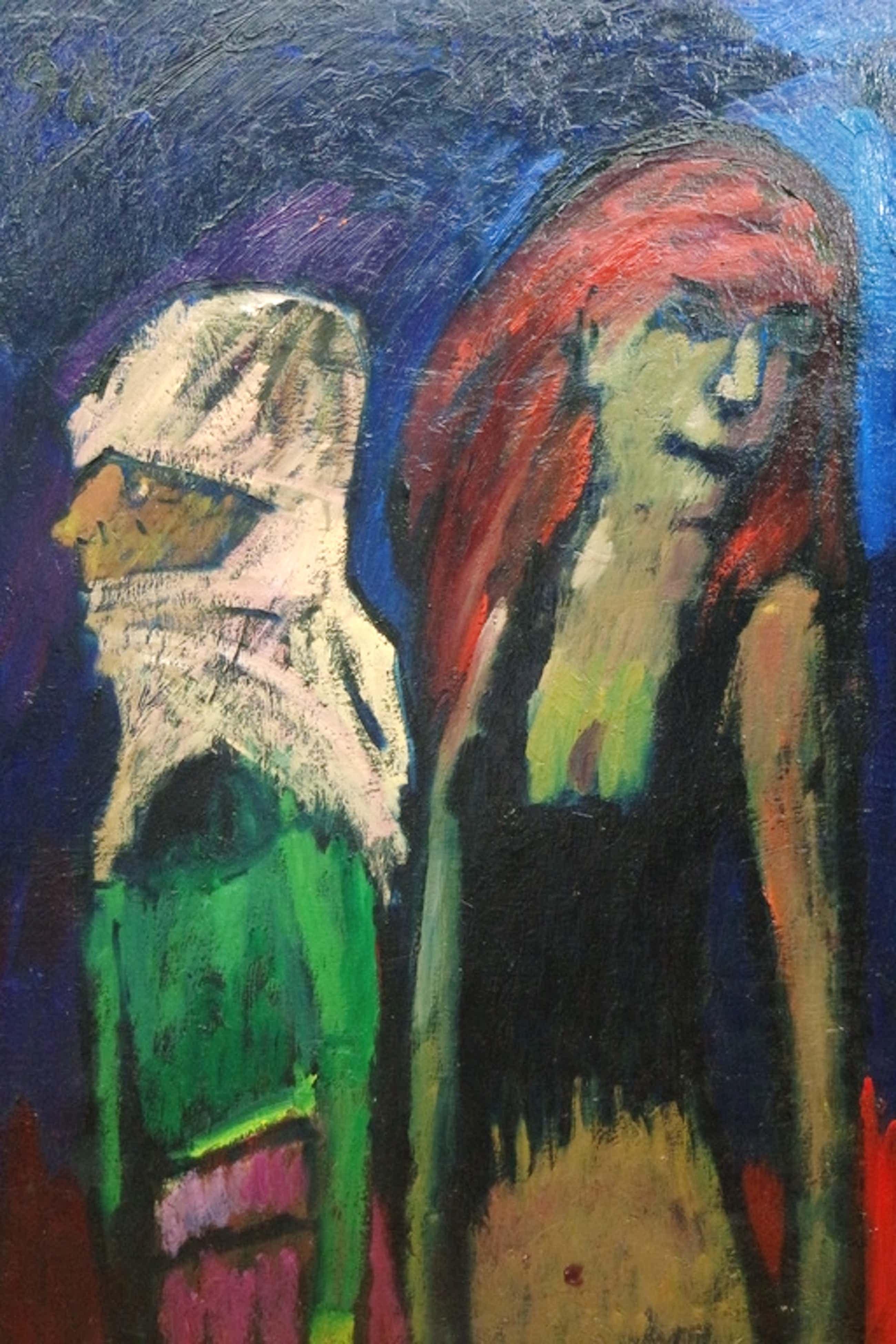 Theo van der Horst (1921-2003) - olieverf op doek - 2 figuren II kopen? Bied vanaf 170!