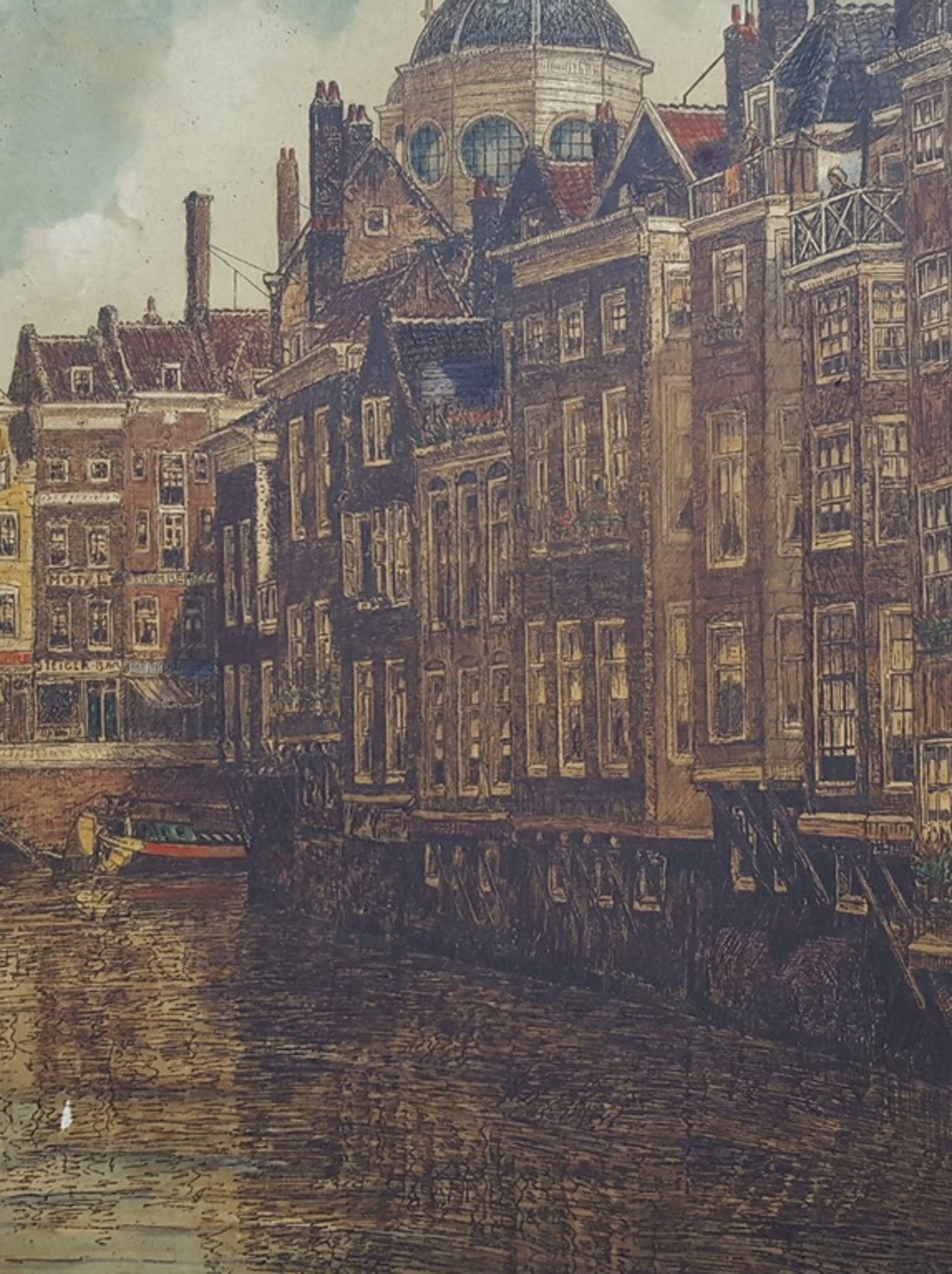 Eugene Rensburg (1872-1956) 2x kleurenets van Rotterdam - handgesigneerd kopen? Bied vanaf 1!