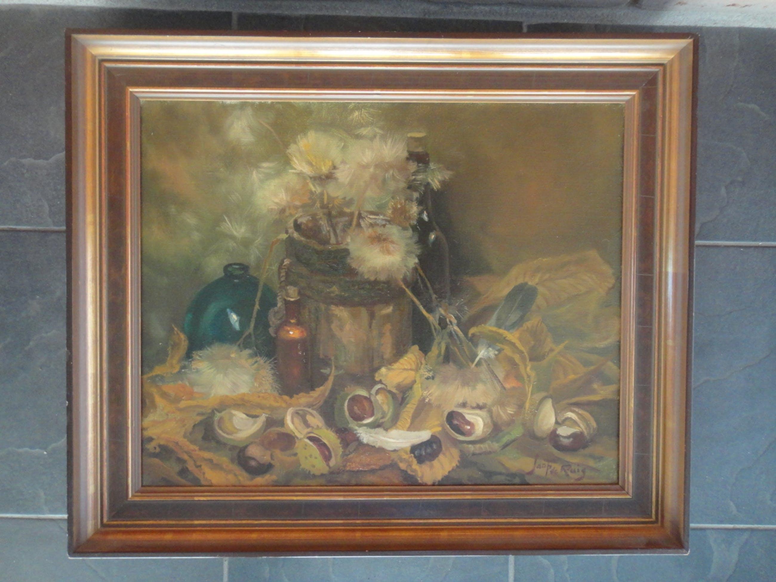 Jaap de Ruig, olieverf op doek, stilleven met o.a. distel en wilde kastanjes kopen? Bied vanaf 1!
