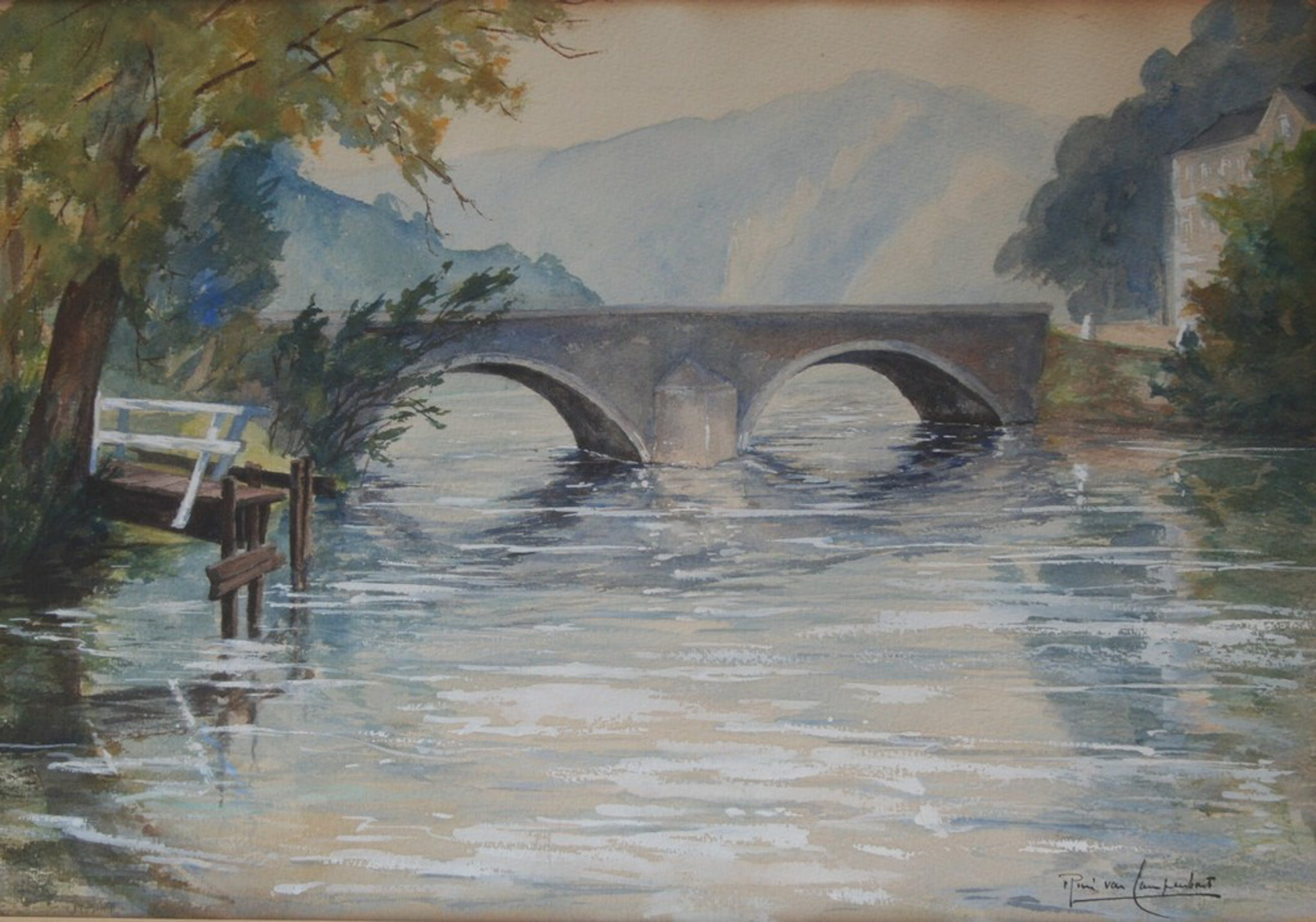 Onbekende kunstenaar - aquarel - oude brug over rivier in de bergen - gesigneerd kopen? Bied vanaf 1!