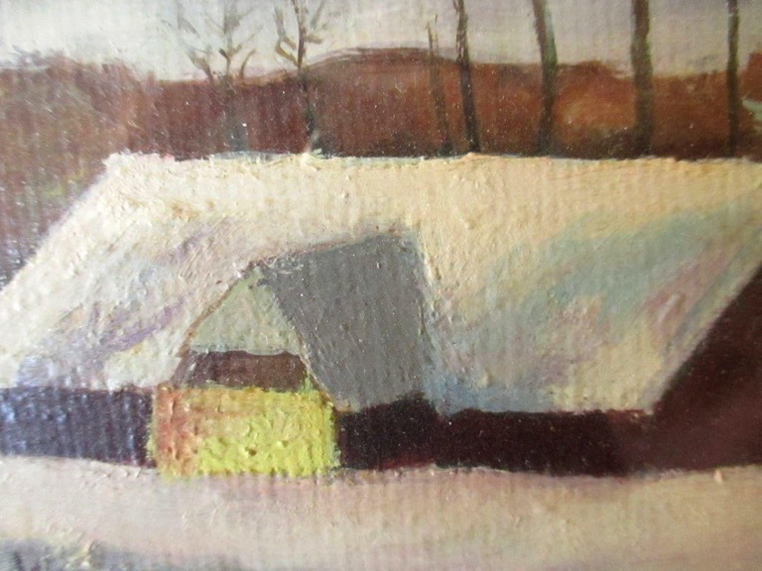 Niet of onleesbaar gesigneerd - Ongesigneerd - Olieverf op schilderskarton - besneeuwd landschap kopen? Bied vanaf 1!