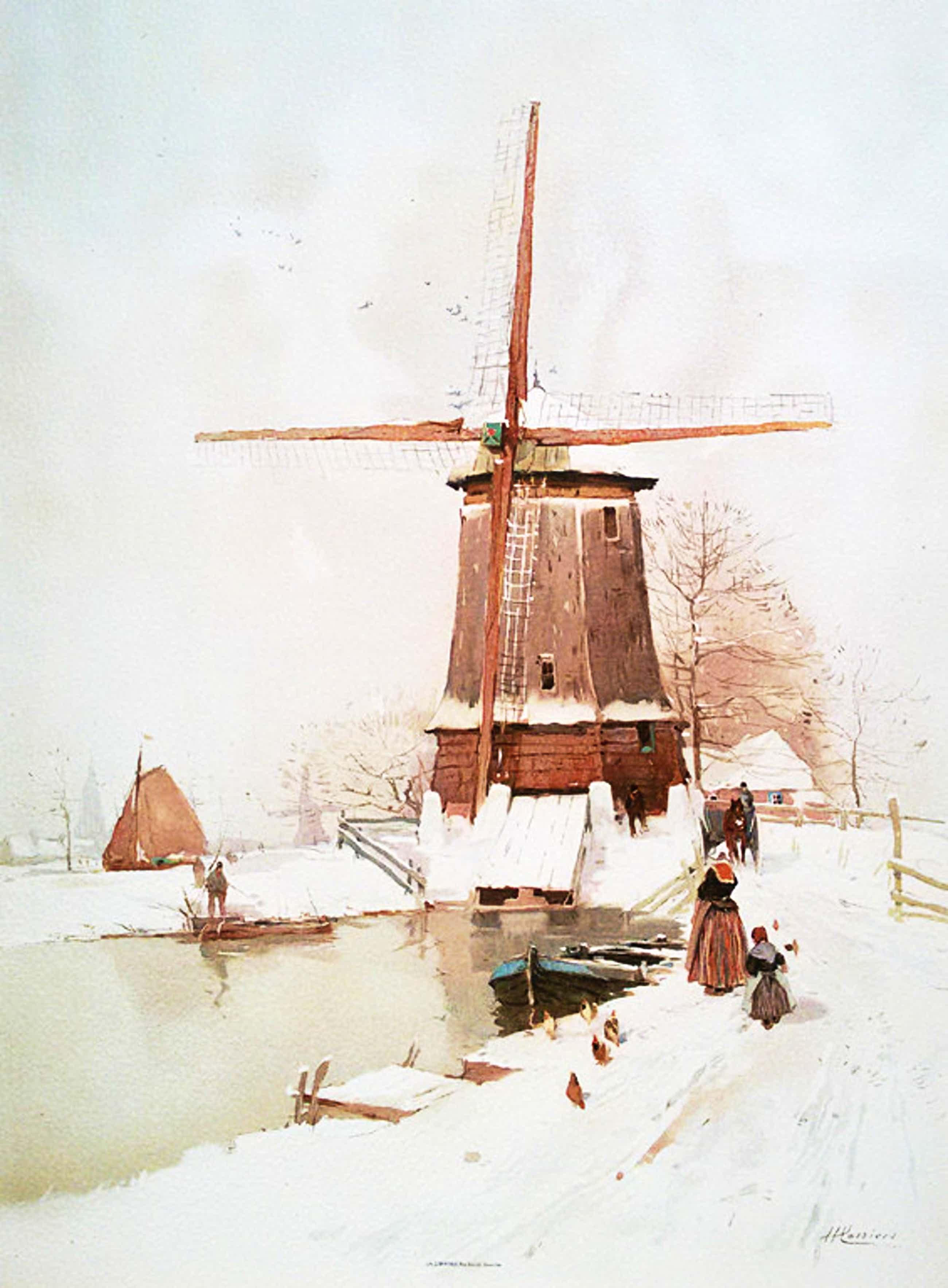 Henri Cassiers - Winters Nederland, chromolithografie kopen? Bied vanaf 35!