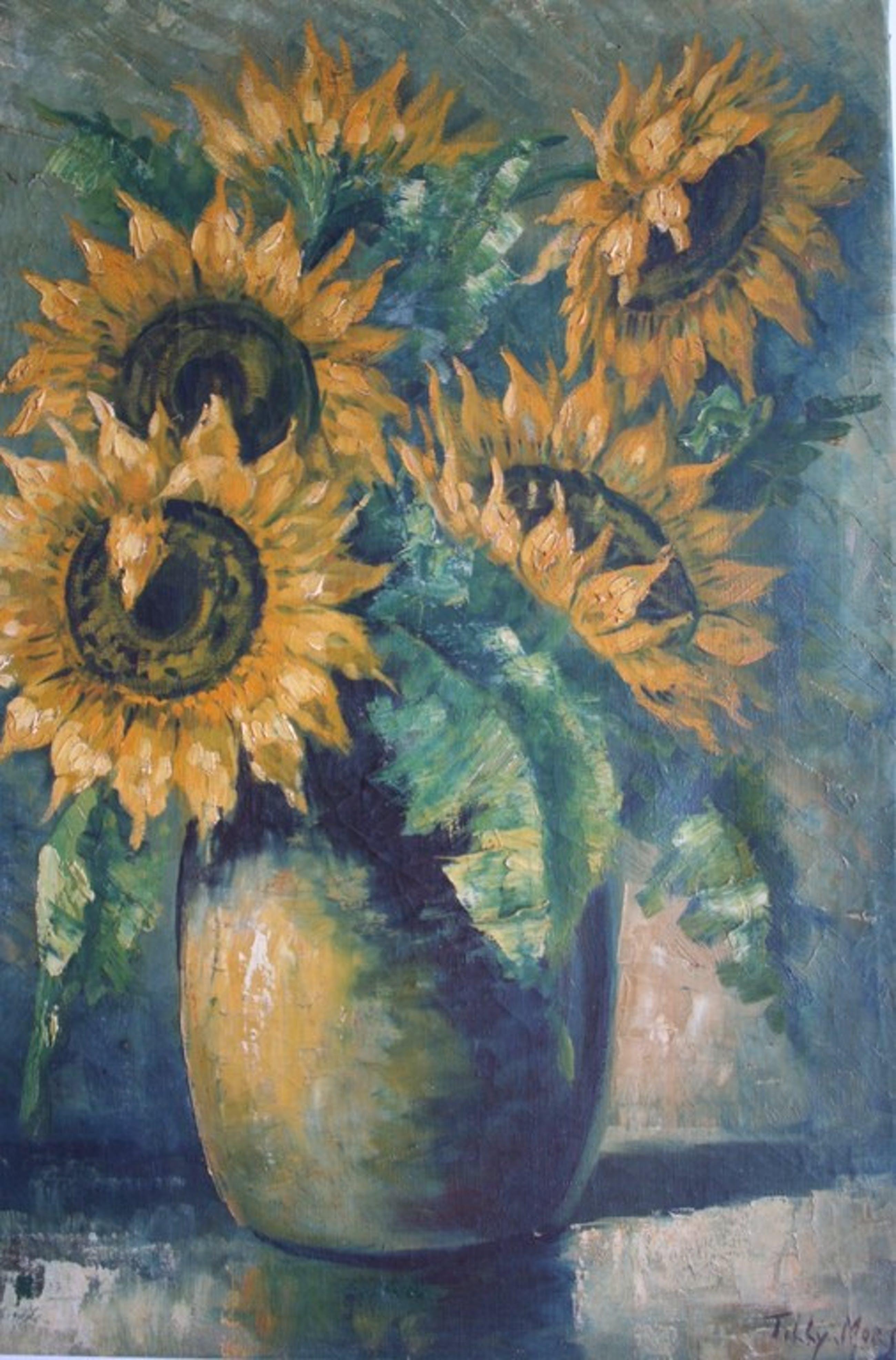 Tilly Moes, olieverf op doek, zonnebloemen kopen? Bied vanaf 70!
