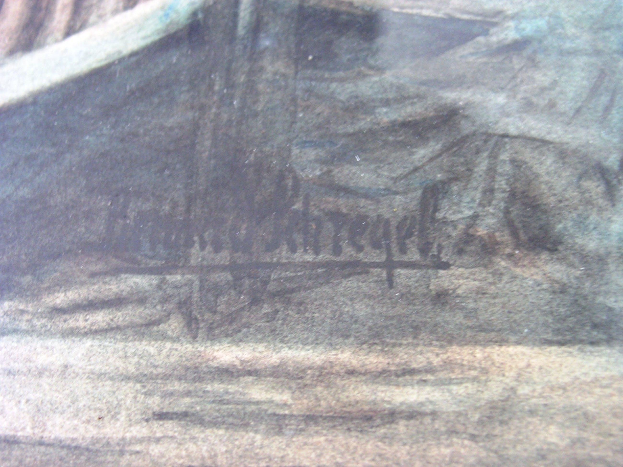 Bernard Schregel - boerderij aan het water - zeer grote aquarel kopen? Bied vanaf 300!