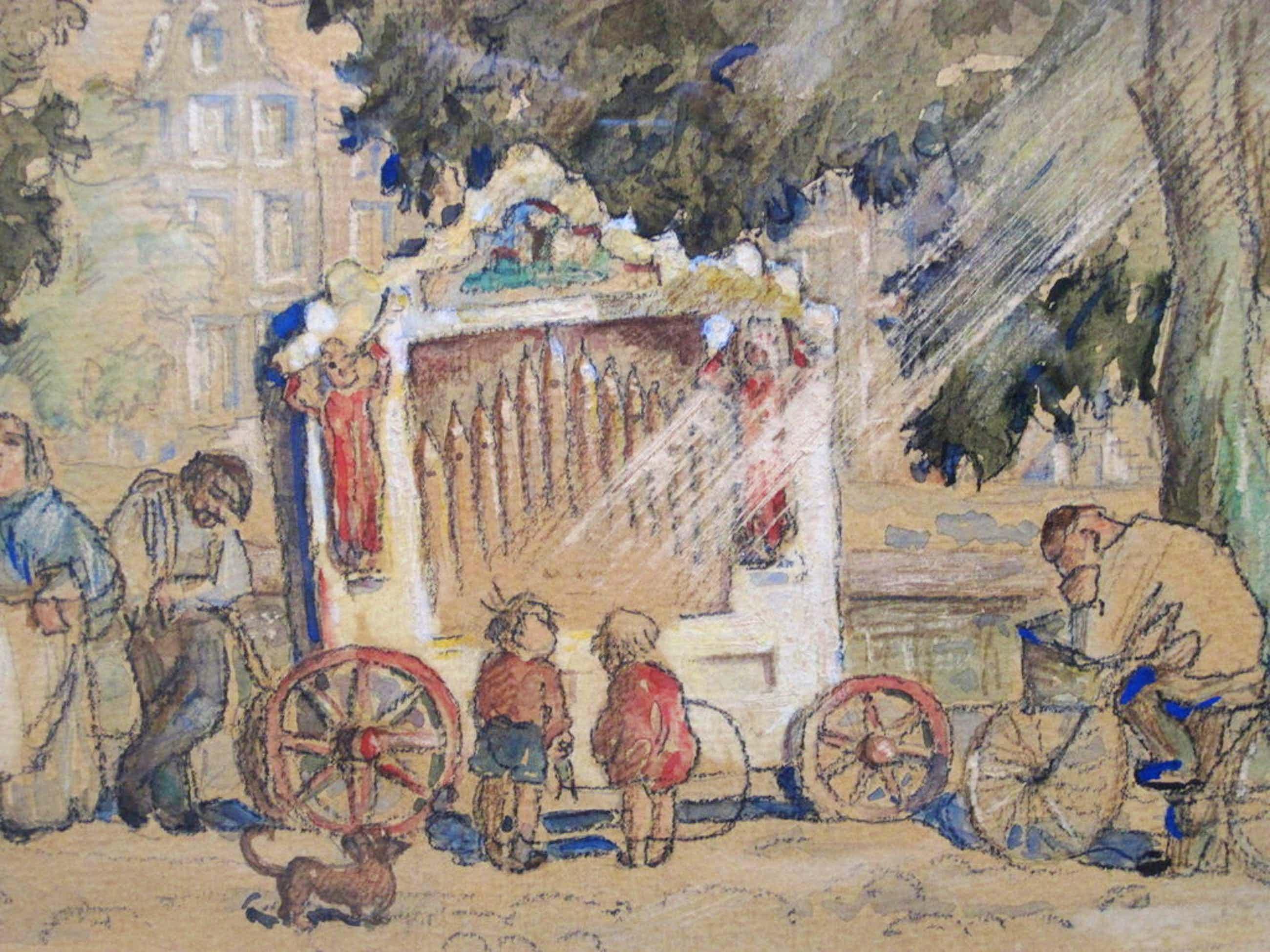 """gesigneerd Louis Soonius aquarel """"Draaiorgel aan Amsterdamse gracht""""  kopen? Bied vanaf 365!"""