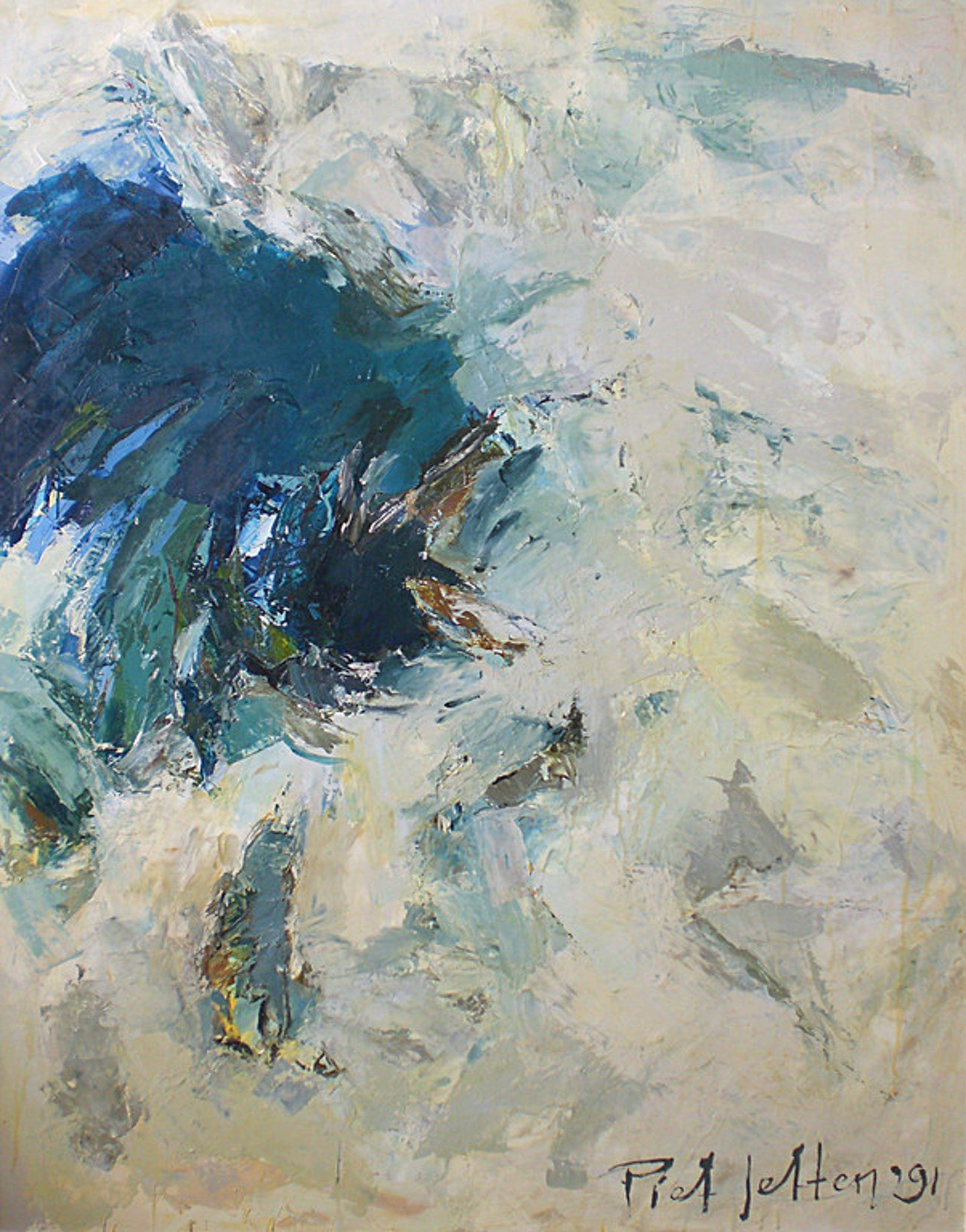 Piet Jetten - Menengai Crater, olieverf op doek (prachtig ingelijst, groot)  kopen? Bied vanaf 450!